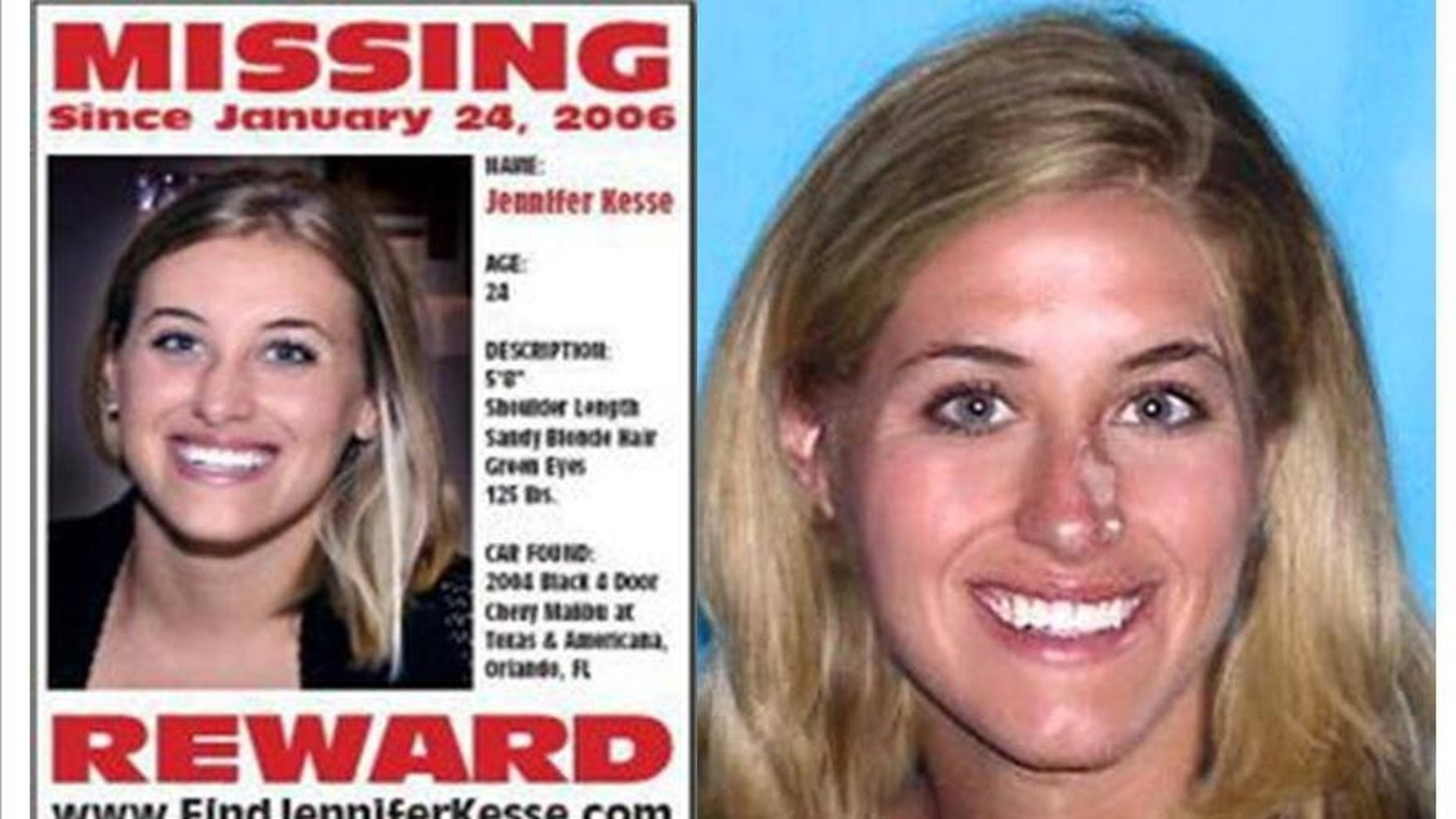 Kesse is pictured on the left at age 24. Authorities age-progressed her image, pictured right, to show what she would look like 10 years later.