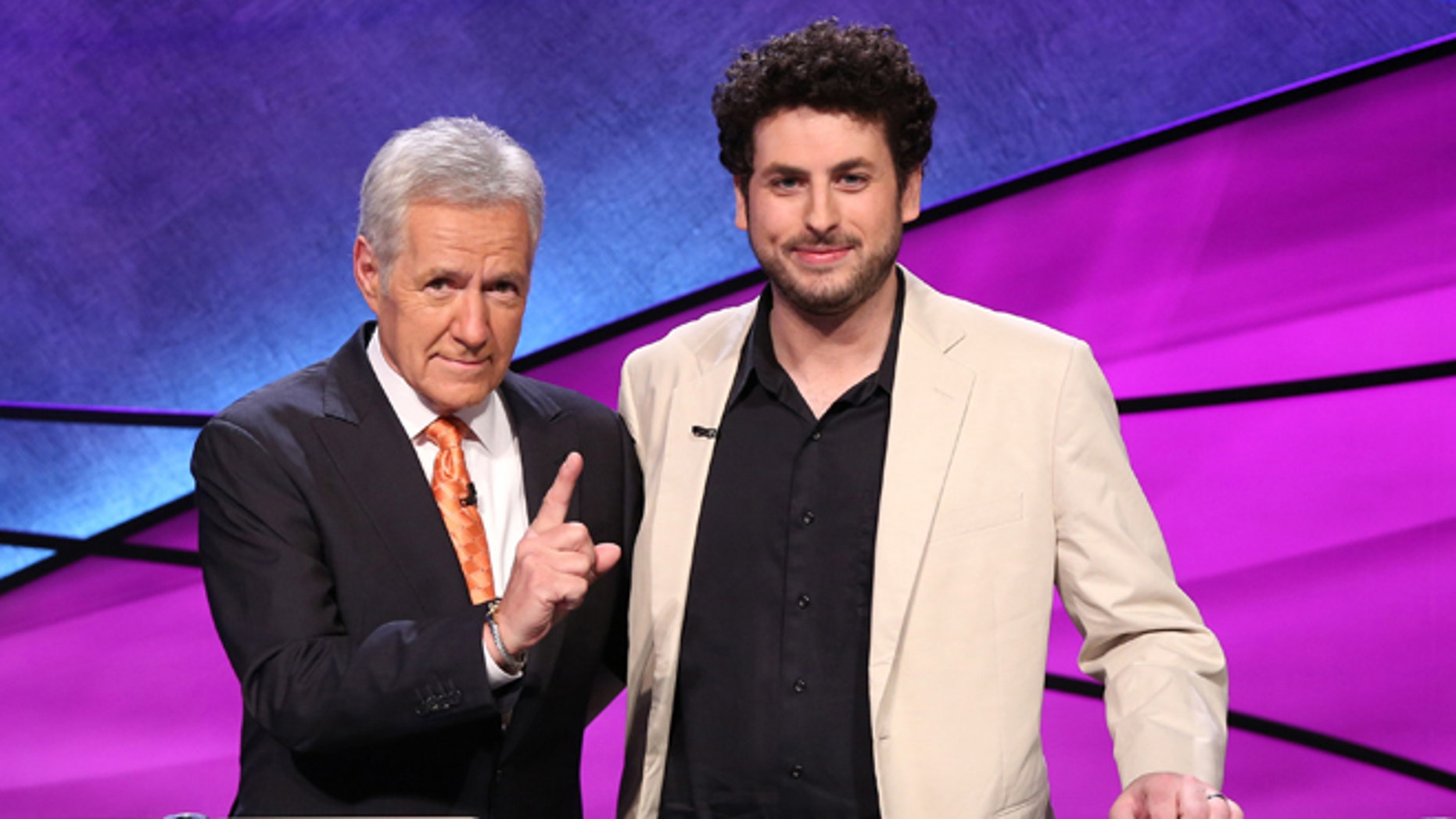 "Nov. 2015. Alex Trebek, left, and winner Alex Jacob, 31, of the ""Jeopardy! Tournament of Champions."""