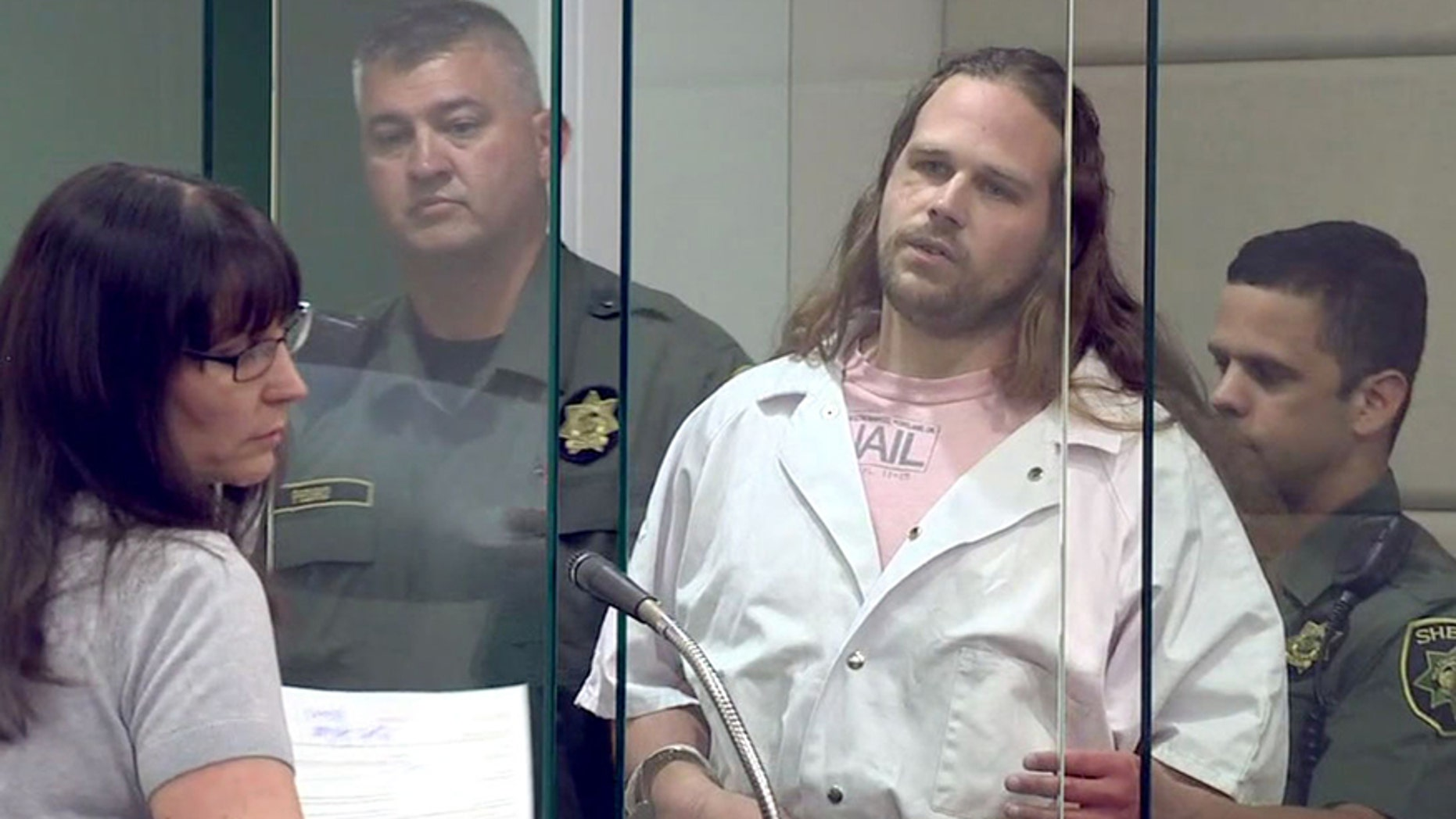 June 7, 2017: Jeremy Christian claimed in a courtroom Wednesday that one of the victims is to blame for a deadly stabbing attack in Portland, Ore.