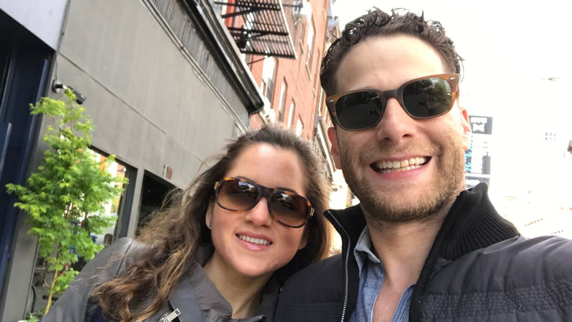Jeremy Goldberg and his wife Paola, both 35, were celebrating their anniversary when he was jumped by a crazed man in New York.