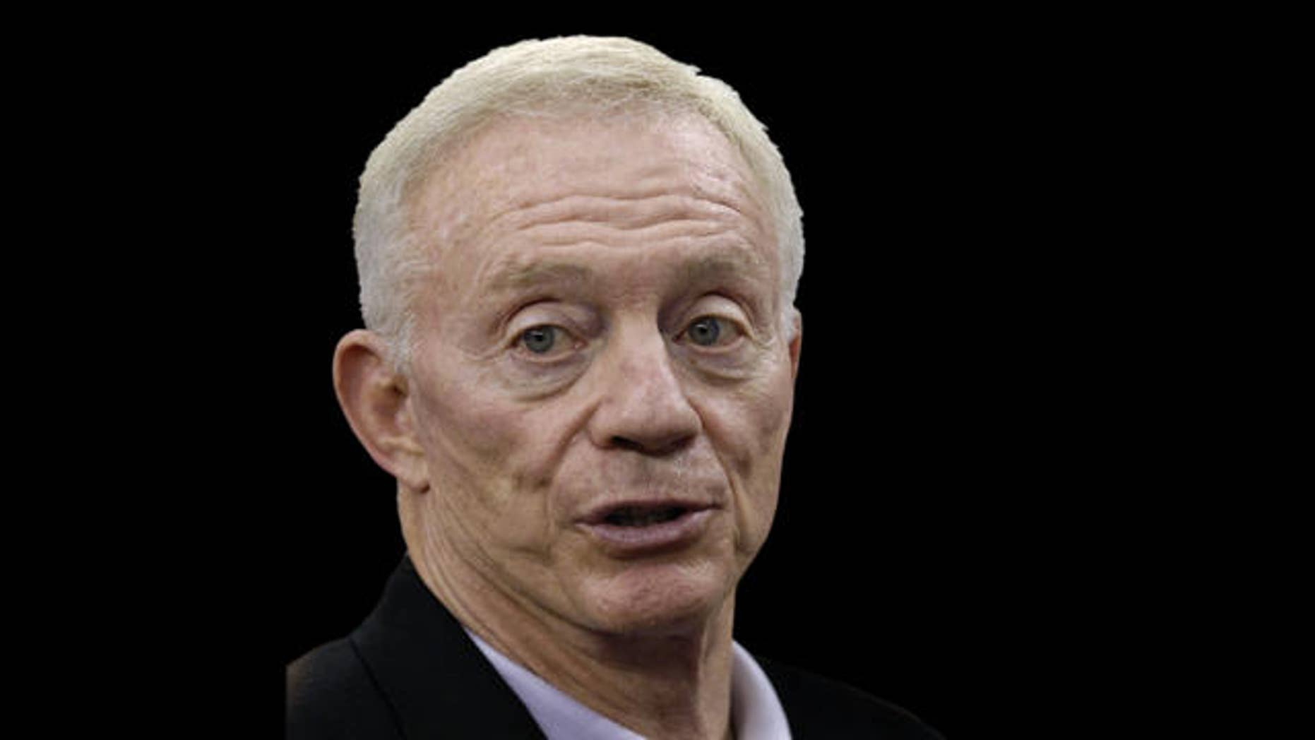 Dallas Cowboys owner Jerry Jones as he answers questions from the media during  football practice at Cowboys Stadium in Arlington, Texas, Wednesday, June 2, 2010.