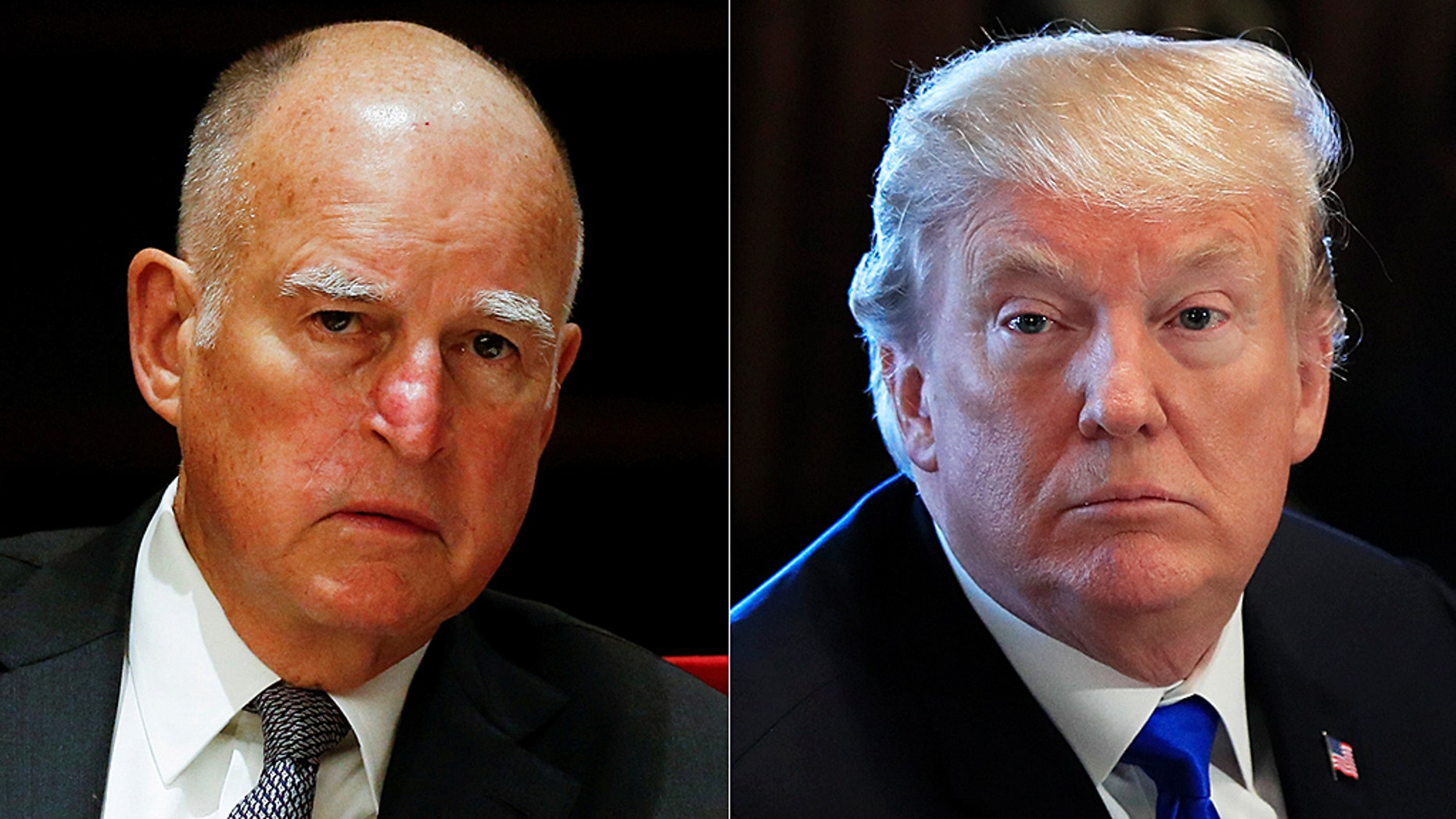 As twin wildfires have destroyed more than 1,000 homes in Northern California, President Trump (right) and California Democratic Gov. Jerry Brown (left) are both making claims – and provoking criticism – about why the fires continue to spread.