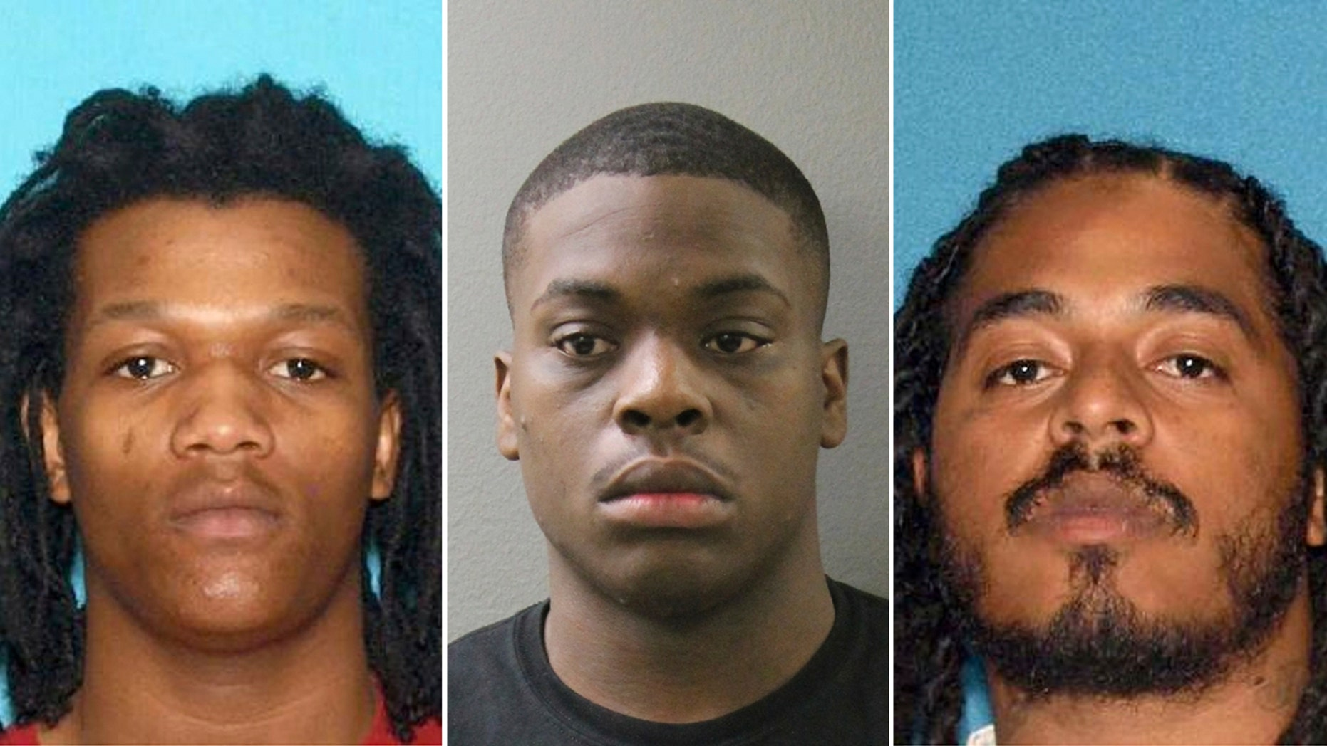 Charles Gamble, 18, (left) Leroy Frazier III, 20, (center) and Michael Elliott, 25, (right) have been arrested and charged in the death of a 9-year-old New Jersey girl hit by a stray bullet as she slept in her bed last month.