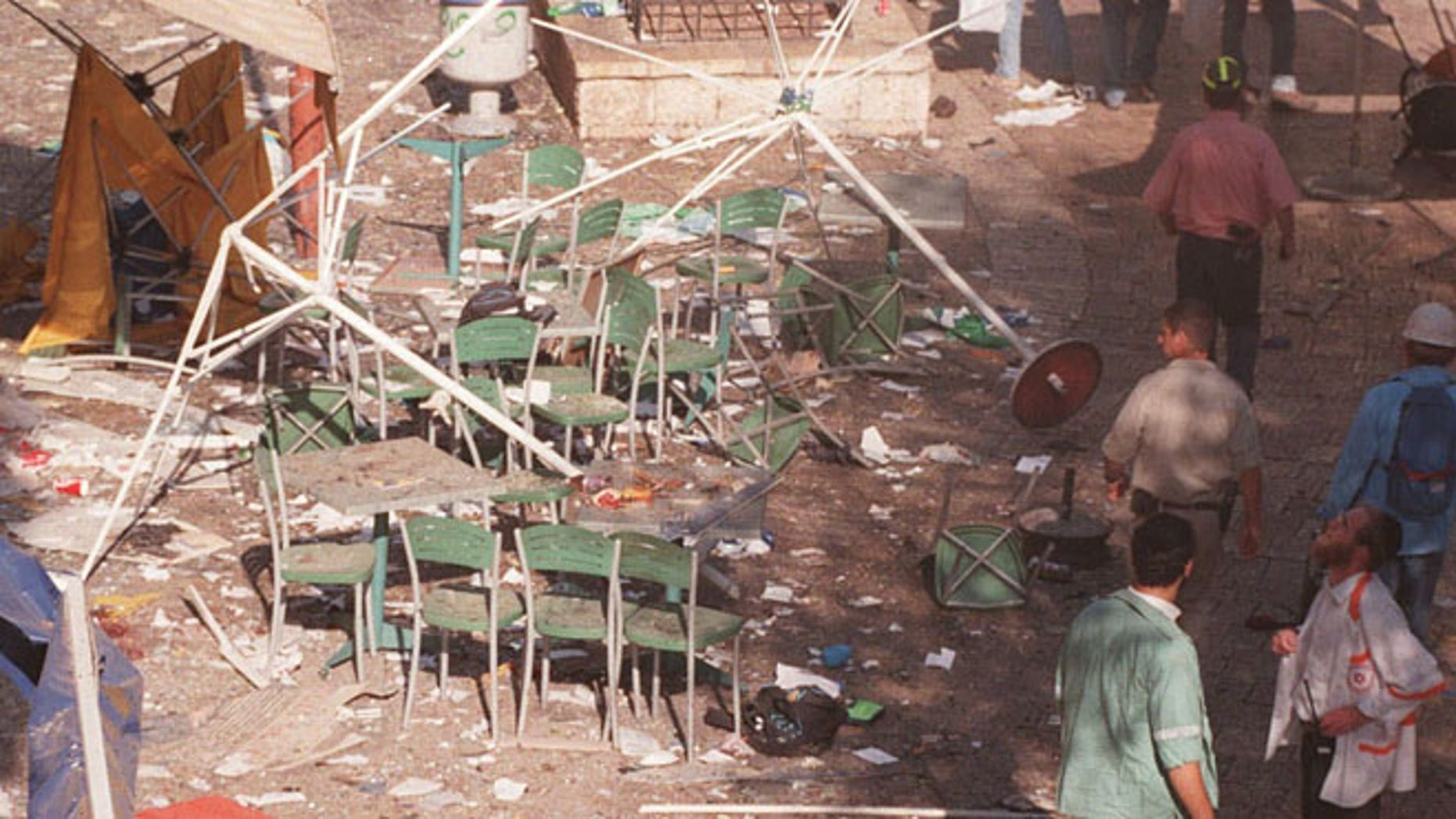 Sept. 4, 1997: Shown here is the site at Jerusalem's Ben Yehuda pedestrian mall following a triple explosion during a terror attack.