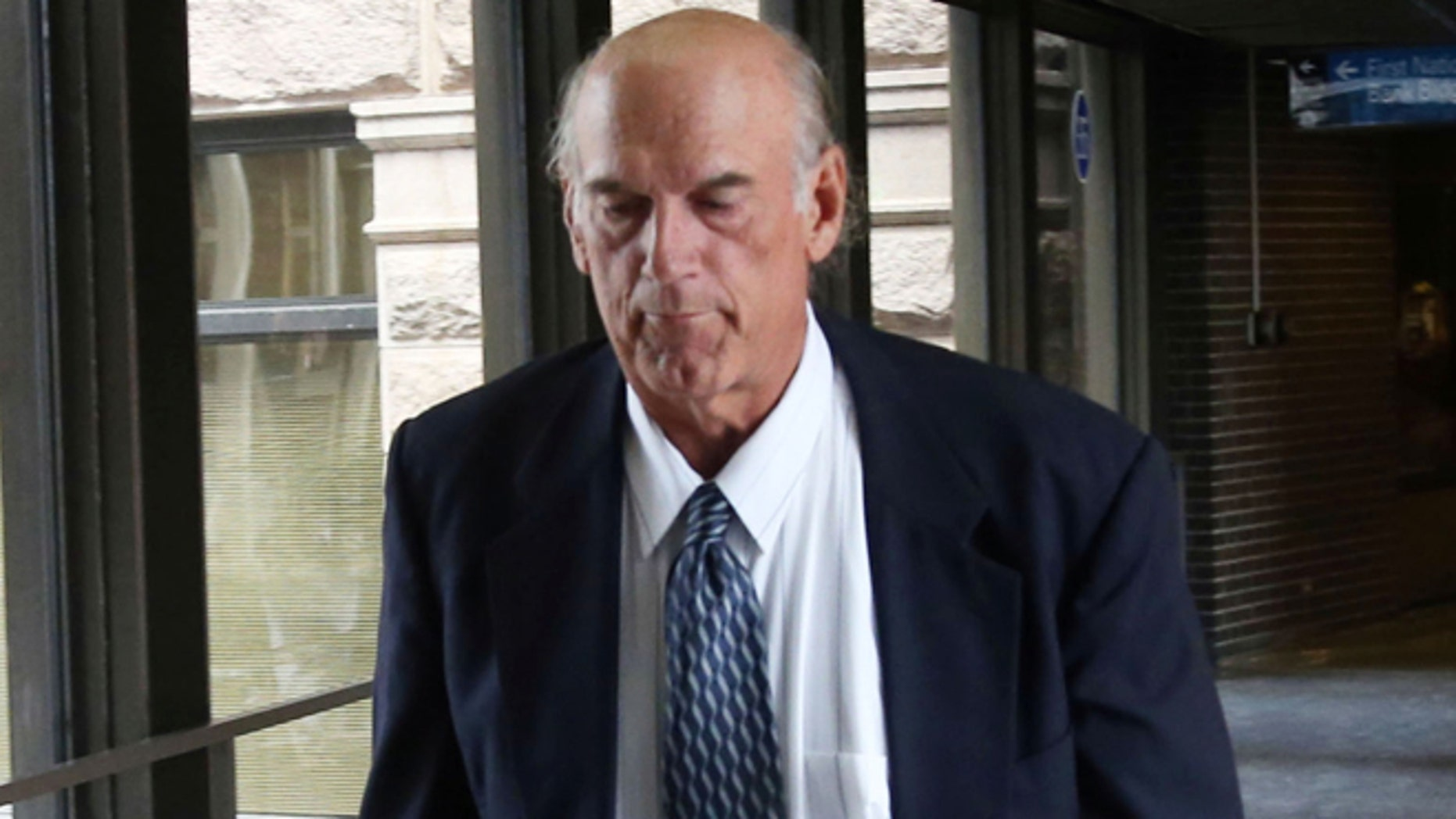 July 8, 2014: Former Minnesota Gov. Jesse Ventura returns from lunch to the federal courthouse in St. Paul, Minn., the first day of a trial in a lawsuit Ventura filed against the estate of the late former Navy SEAL Chris Kyle. Ventura filed the defamation lawsuit claiming that Kyle'ss account of a bar fight in a book he wrote was false.