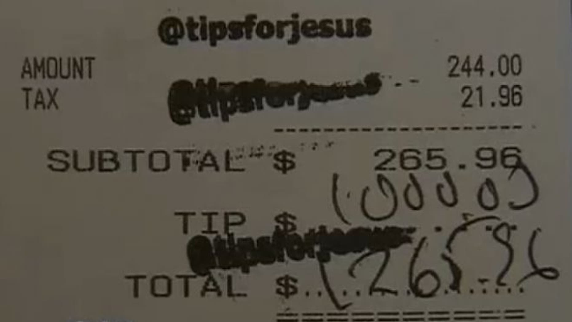 "UNDATED: A waitress at the Hungry Cat in Los Angeles received a $1,000 tip from a mystery tipper or group of tippers that signs credit card slips with the words ""Tips for Jesus."""