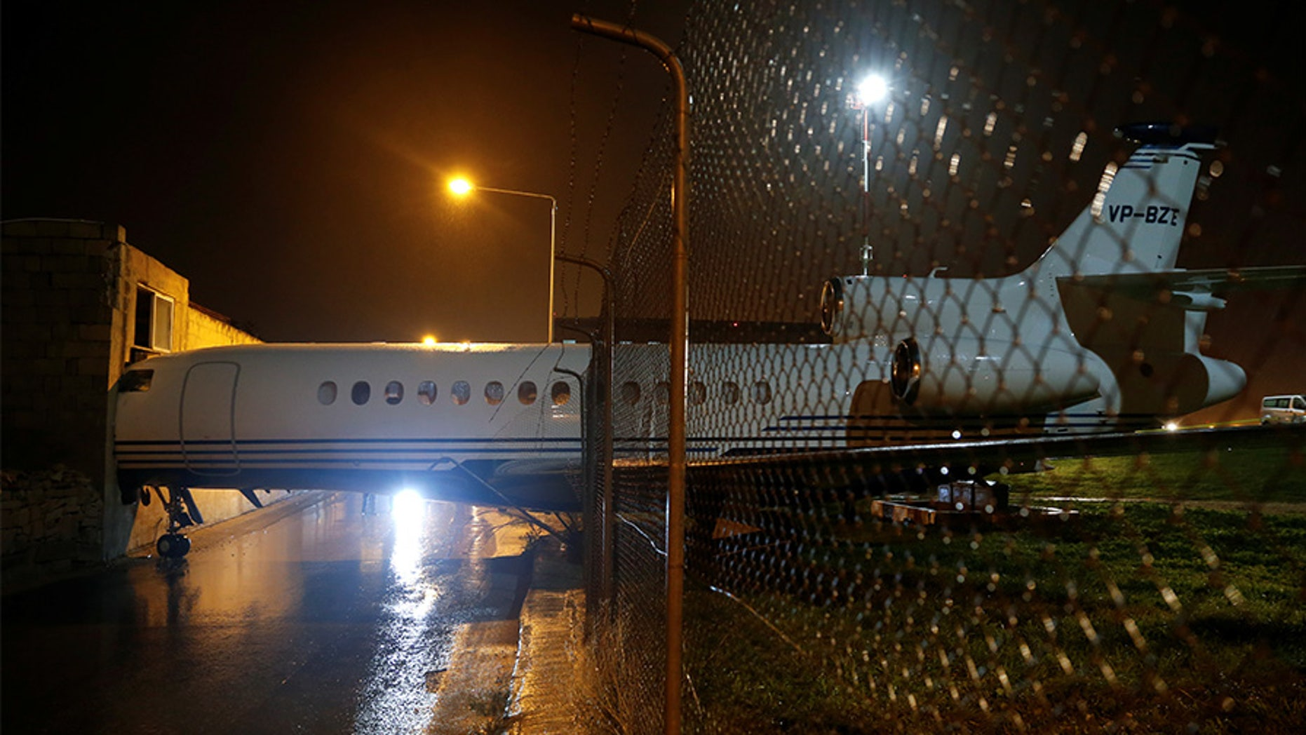The privately-owned aircraft was blown into an adjacent office building on Wednesday night.