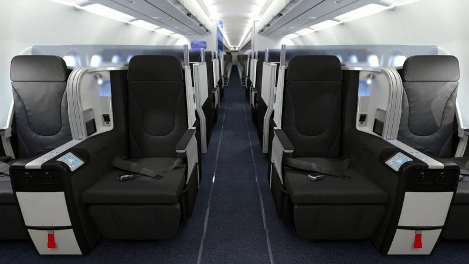 """Front row in JetBlue's """"Mint"""" class seating."""