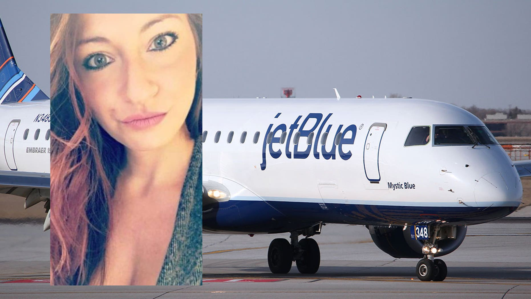 """Robin Ducore (inset) allegedly assaulted the flight crew, """"flirtatiously"""" touched a passenger's head, and threw food on a Jetblue flight in July."""