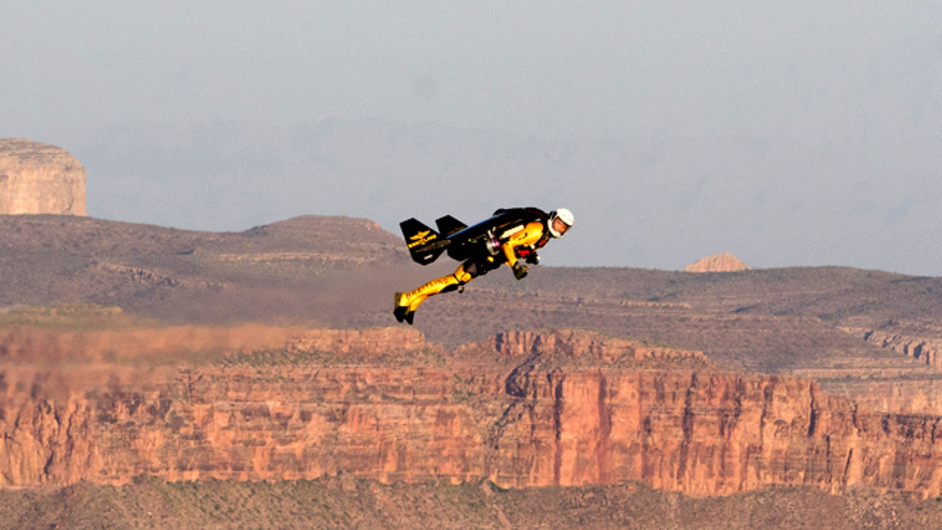 May 8, 2011: Yves Rossy, the adventurer better known as Jetman, makes an historic first U.S. flight over the Grand Canyon.