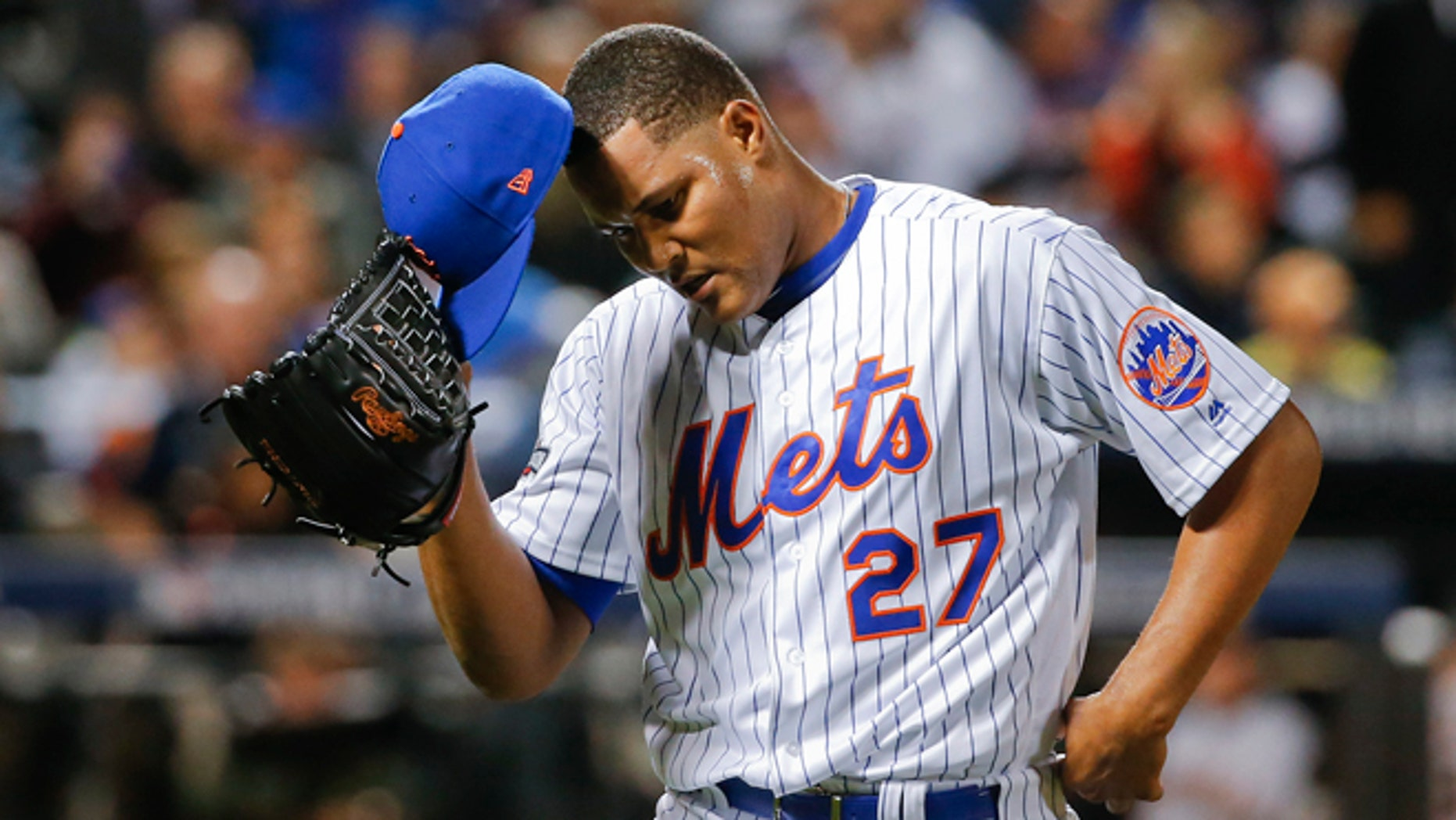 NY Mets relief pitcher Jeurys Familia during the National League wild-card baseball game on Oct. 5, 2016.