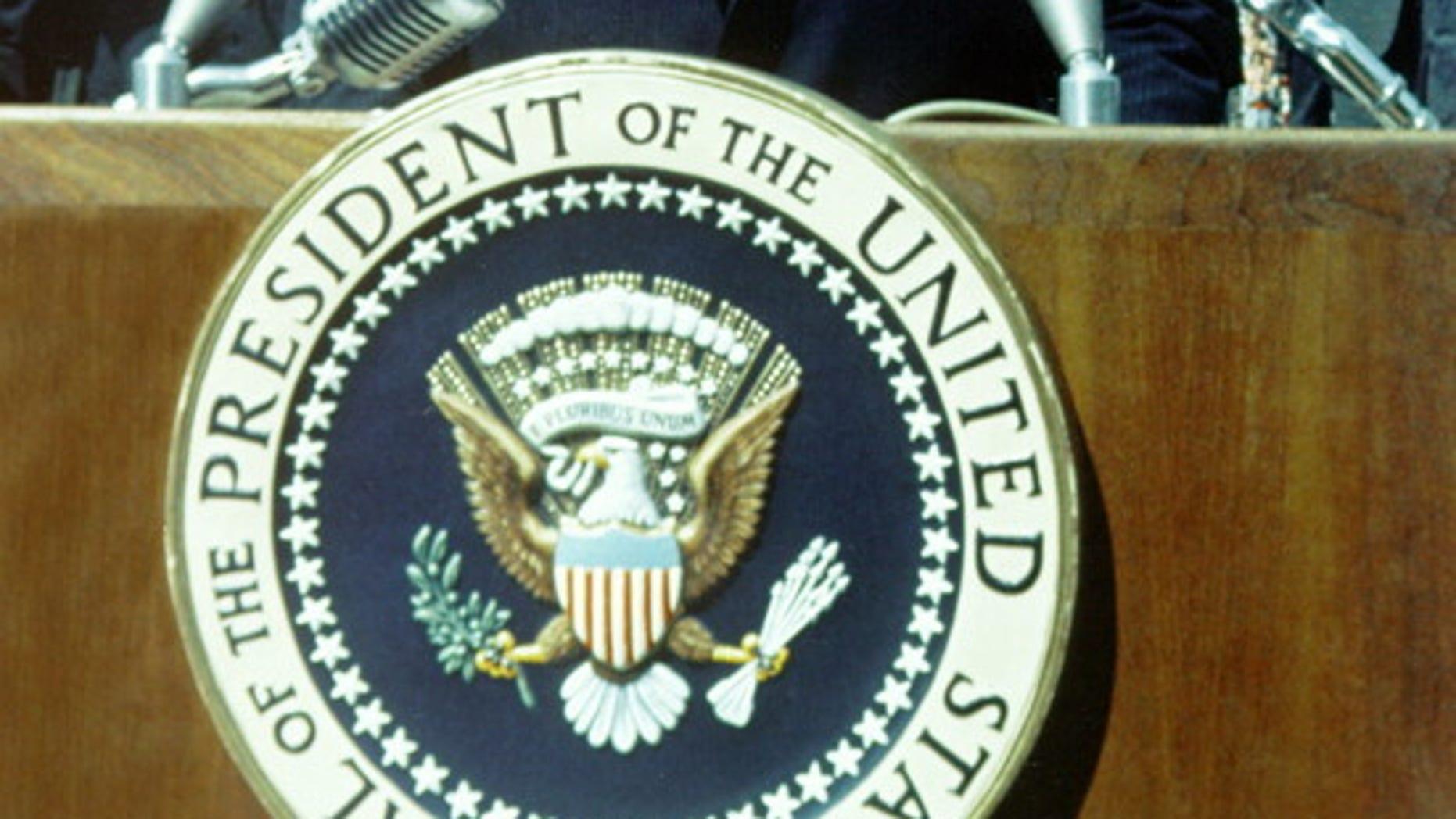 "President John F. Kennedy makes his ""moon speech"" at Rice University in Houston  on Sept. 12, 1962."