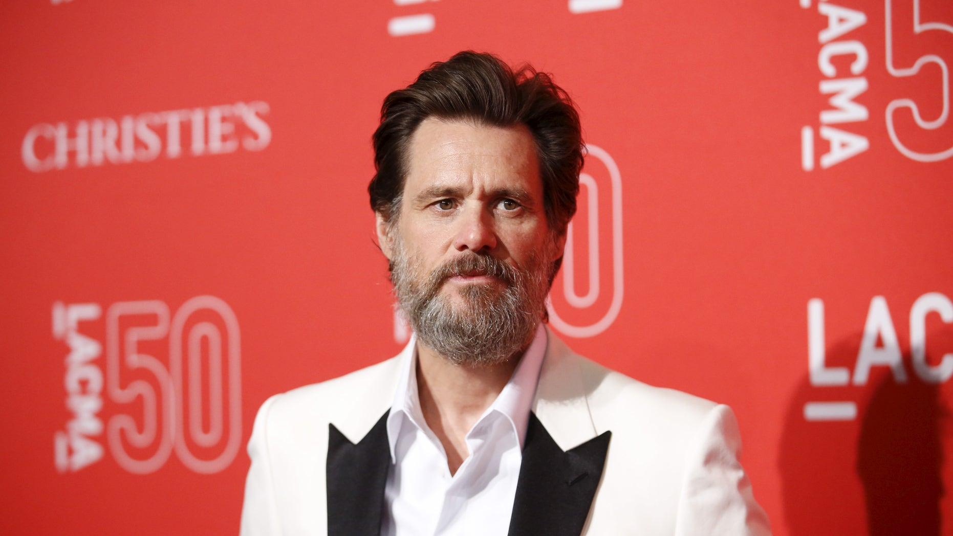 April 18, 2015. Actor Jim Carrey poses at LACMA's 50th anniversary gala in Los Angeles, California.
