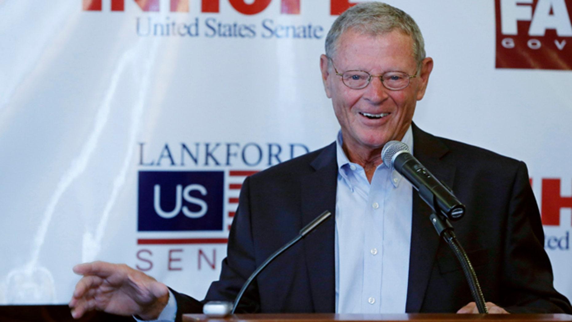 Sept. 2, 2014: Sen. Jim Inhofe, R-Oklahoma, speaks during a Republican rally in Edmond, Okla.