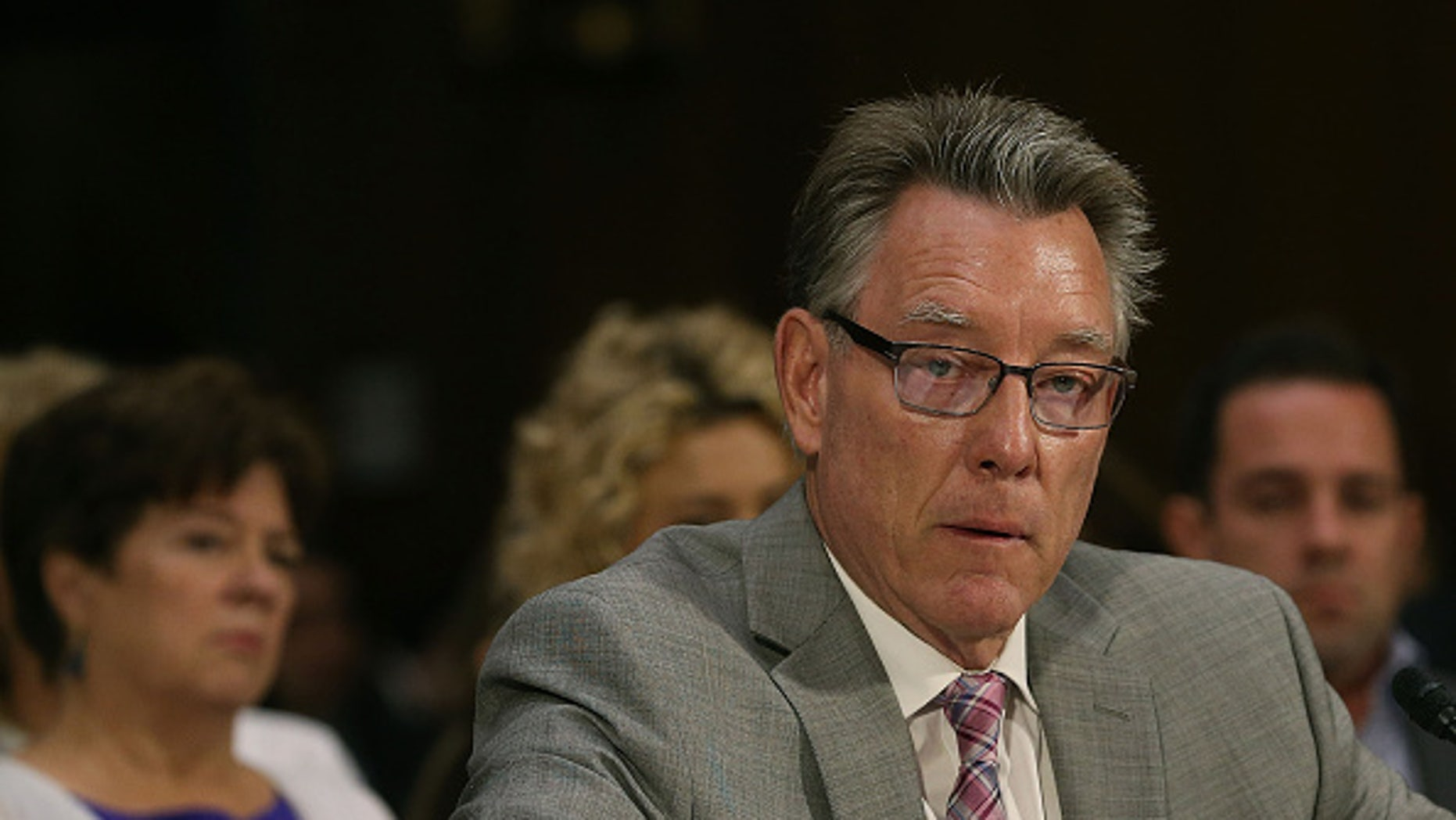 WASHINGTON, DC - JULY 21:   Jim Steinle, father of  Kathryn Steinle who was killed by an illegal immigrant in San Francisco, testifies during a Senate Judiciary Committee hearing on Capitol Hill.
