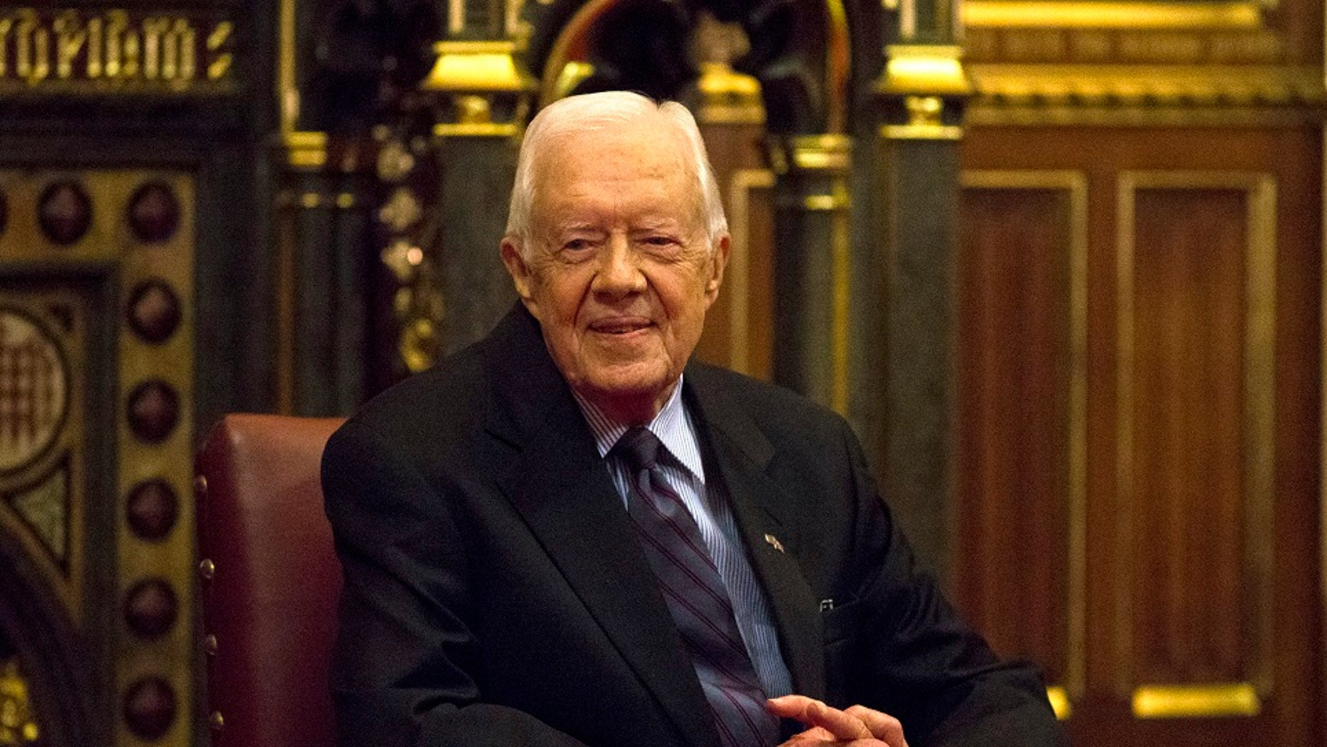 Former U.S. President Jimmy Carter's statue in South Dakota was vandalized, officials said.