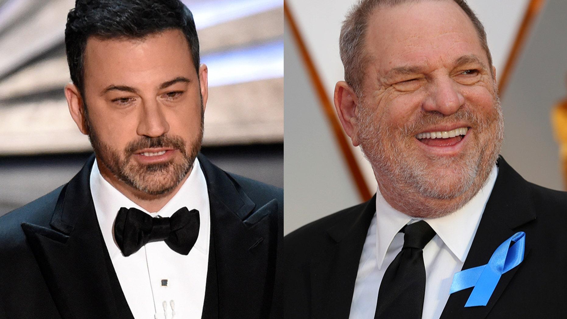 Harvey Weinstein was the butt of several jokes made by Oscars host Jimmy Kimmel.