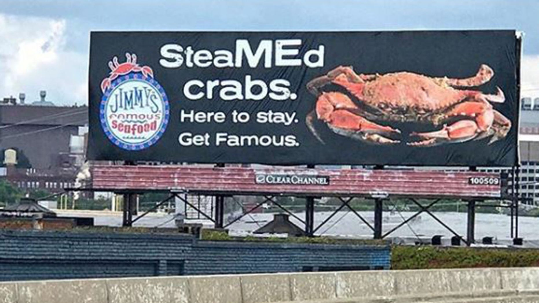 Jimmy's Famous Seafood has targeted PETA in its newest billboard.