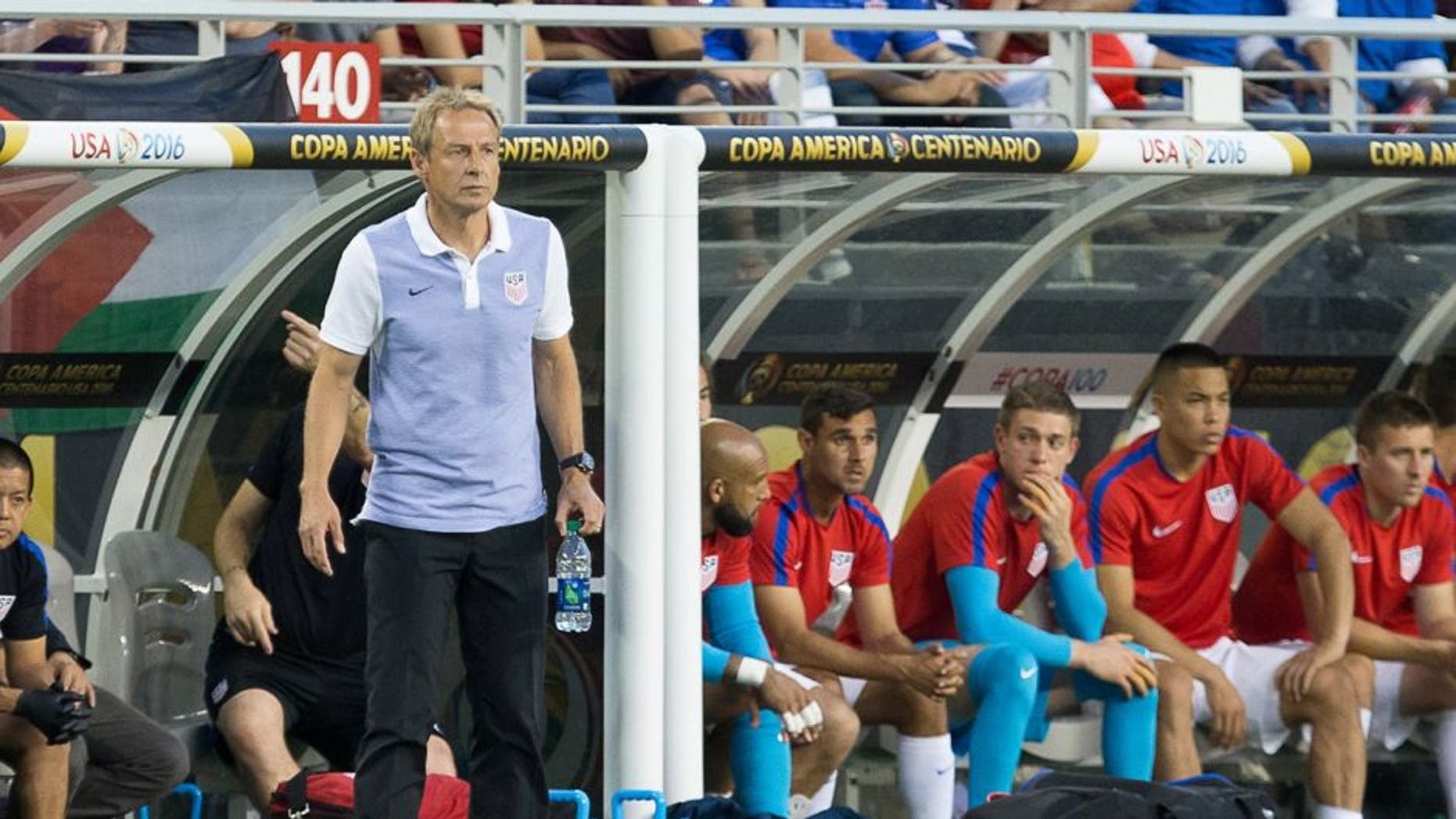 Jun 3, 2016; Santa Clara, CA, USA; United States head coach Jurgen Klinsmann (C) stands on the sideline against Colombia in the second half during the group play stage of the 2016 Copa America Centenario at Levi's Stadium. Colombia won 2-0. Mandatory Credit: Kelley L Cox-USA TODAY Sports