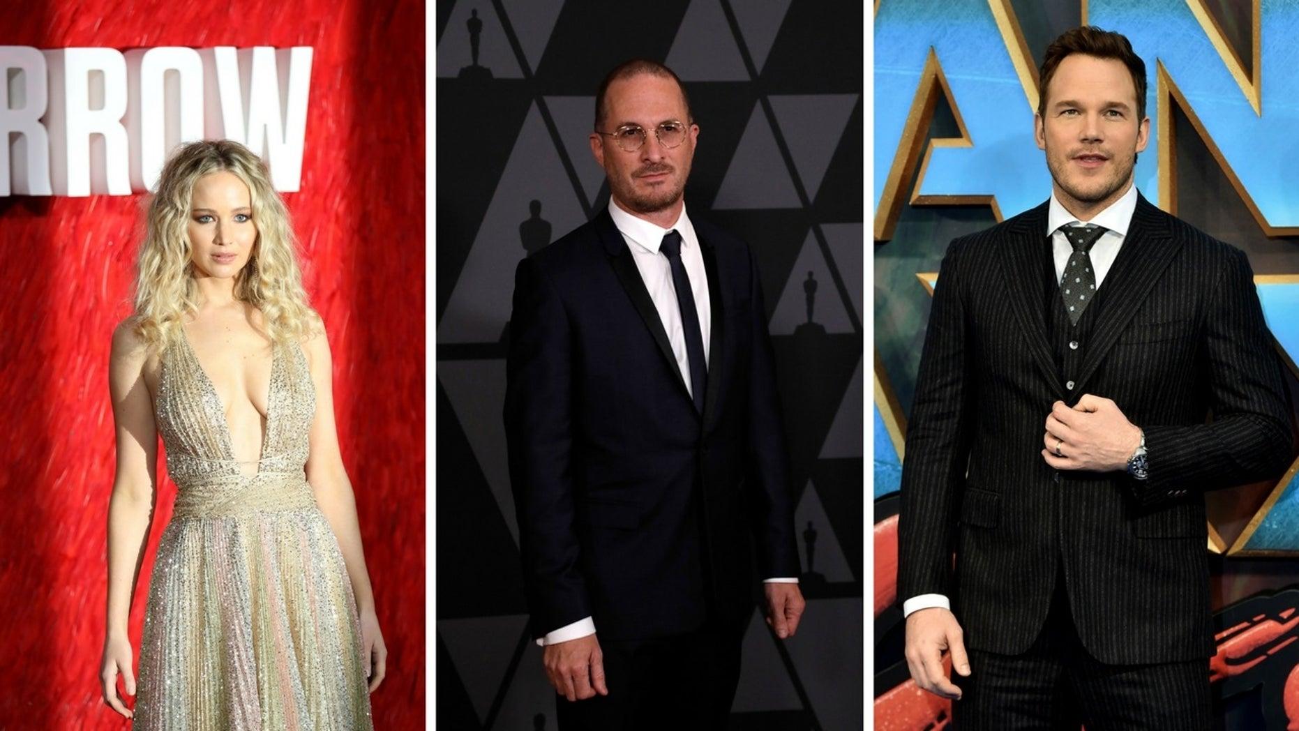 Jennifer Lawrence said she still loves her ex-boyfriend Darren Aronofsky (center) and addressed Chris Pratt cheating rumors.