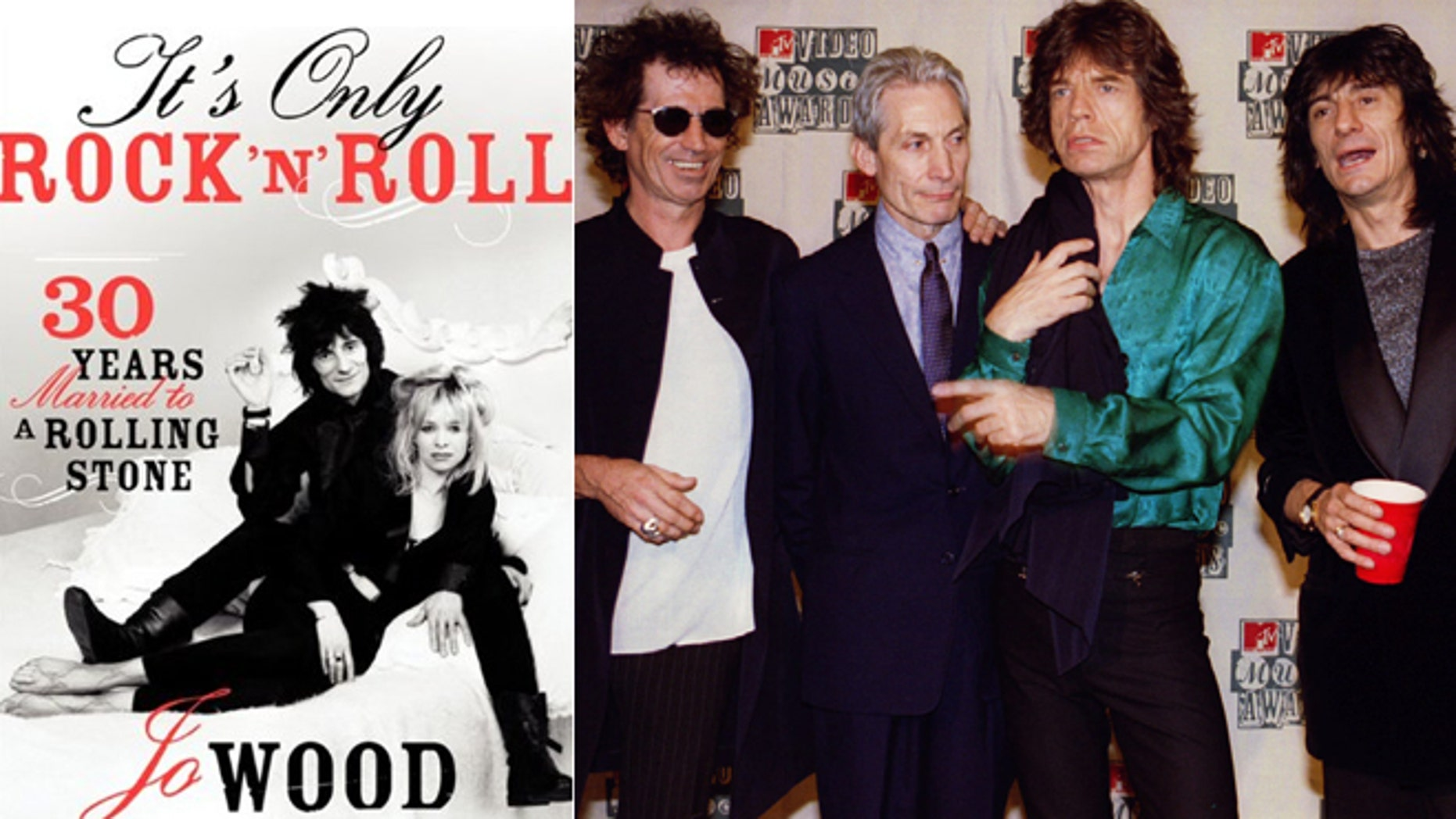 Jo Wood's book cover is seen, left, with the Rolling Stones, right.