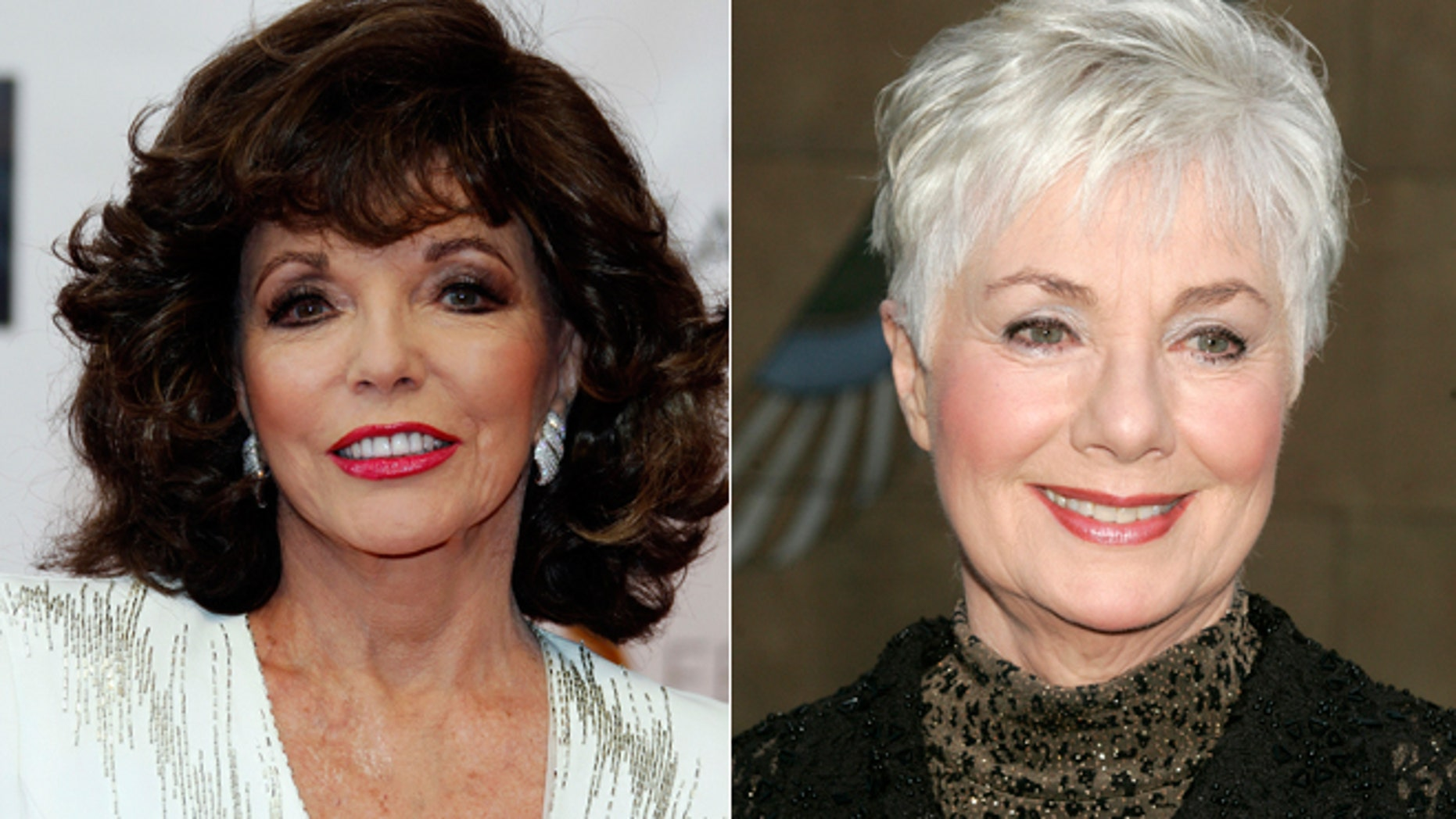 Joan Collins, left, and Shirley Jones.