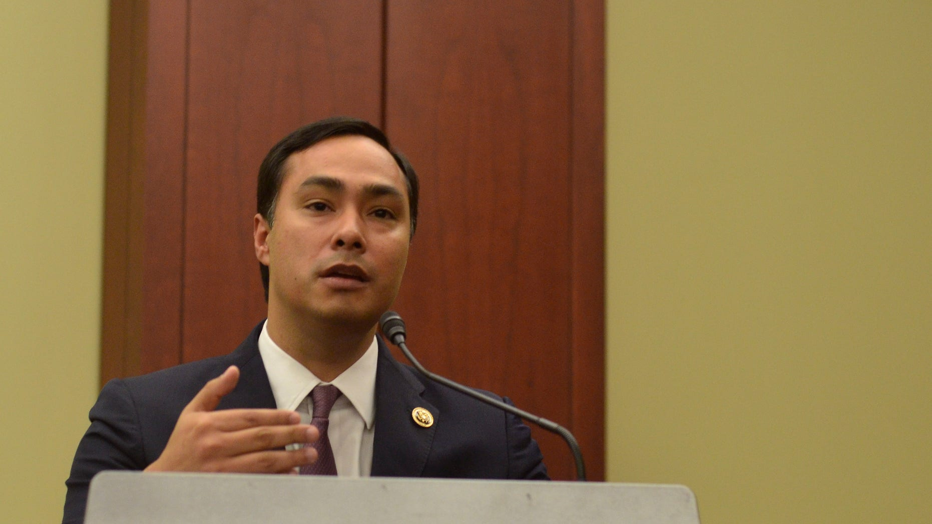 "WASHINGTON, DC- SEPTEMBER 30:  Representative Joaquin Castro (D-TX) speaks during a private screening of ""Food Chains"" in the Capitol Visitors Center on September 30, 2015 in Washington, DC.   (Photo by Kris Connor/Getty Images for ""Food Chains"")"