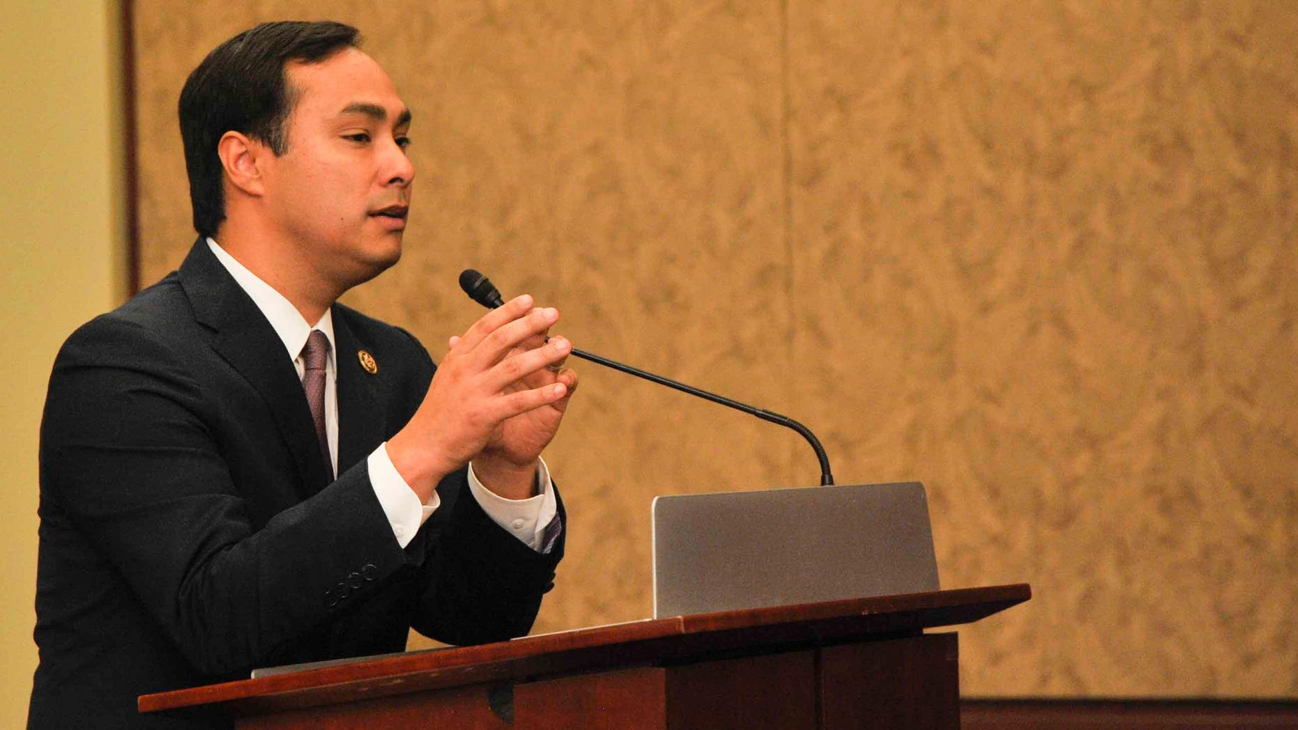 """WASHINGTON, DC- SEPTEMBER 30:  Representative Joaquin Castro(D-TX) speaks during a private screening of """"Food Chains"""" in the Capitol Visitors Center on September 30, 2015 in Washington, DC.   (Photo by Kris Connor/Getty Images for """"Food Chains"""")"""