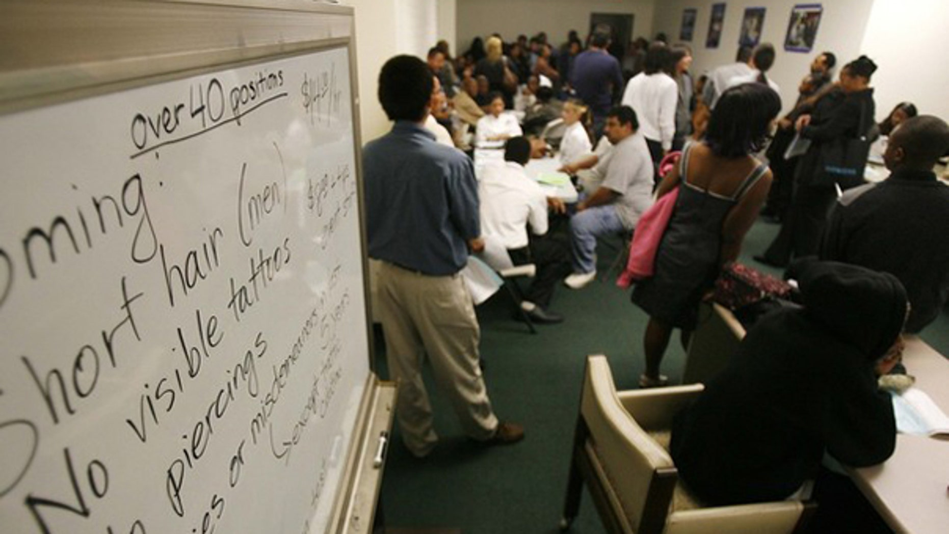 Applicants wait at a job fair in Los Angeles Nov. 20. (Reuters Photo)