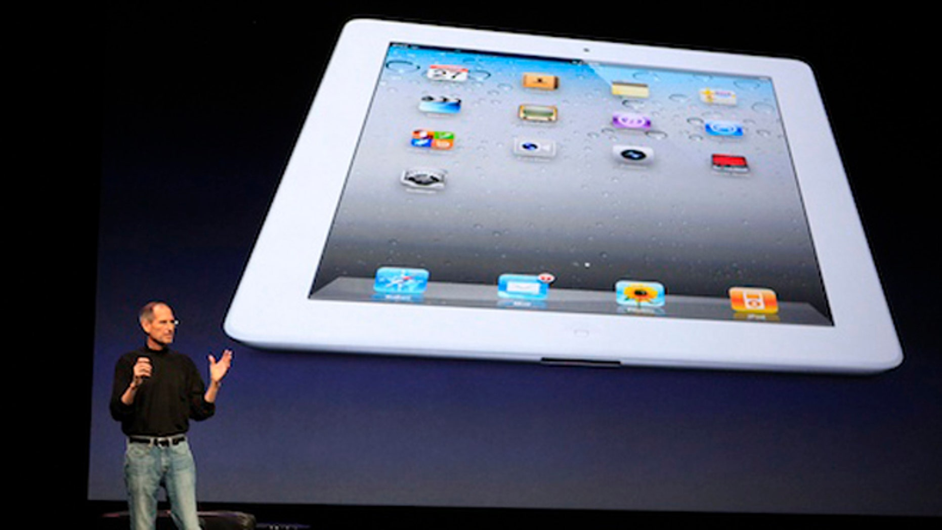 March 2, 2011: Apple Inc. CEO Steve Jobs introduces the iPad 2 on stage during an event in San Francisco, California.