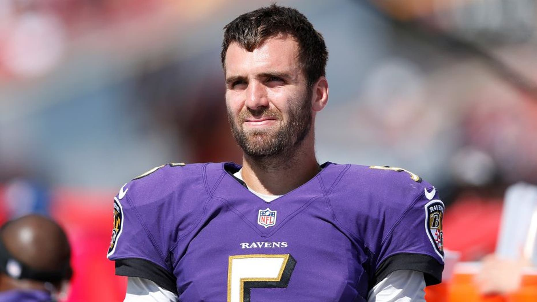 TAMPA, FL - OCTOBER 12: Joe Flacco #5 of the Baltimore Ravens looks on against the Tampa Bay Buccaneers during the game at Raymond James Stadium on October 12, 2014 in Tampa, Florida. The Ravens defeated the Buccaneers 48-17. (Photo by Joe Robbins/Getty Images) *** Local Caption *** Joe Flacco