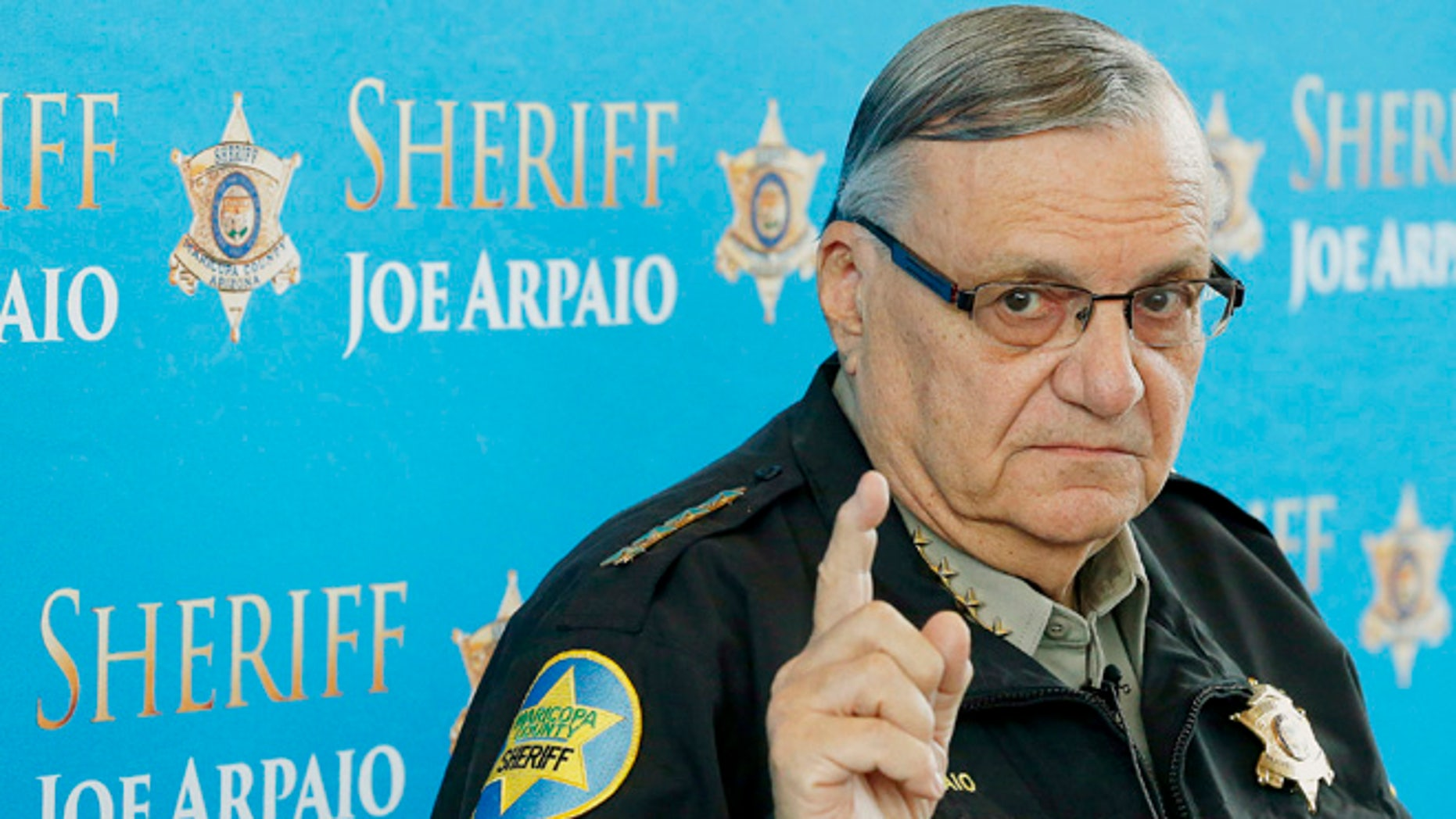 Dec. 18, 2013: Maricopa County Sheriff Joe Arpaio speaks at a news conference at the Sheriff's headquarters in Phoenix, Ariz.