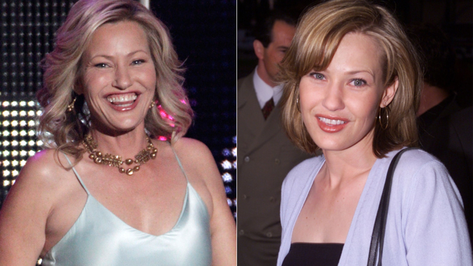 Joey Lauren Adams at the CMT Awards Wednesday, left, and in 2000.