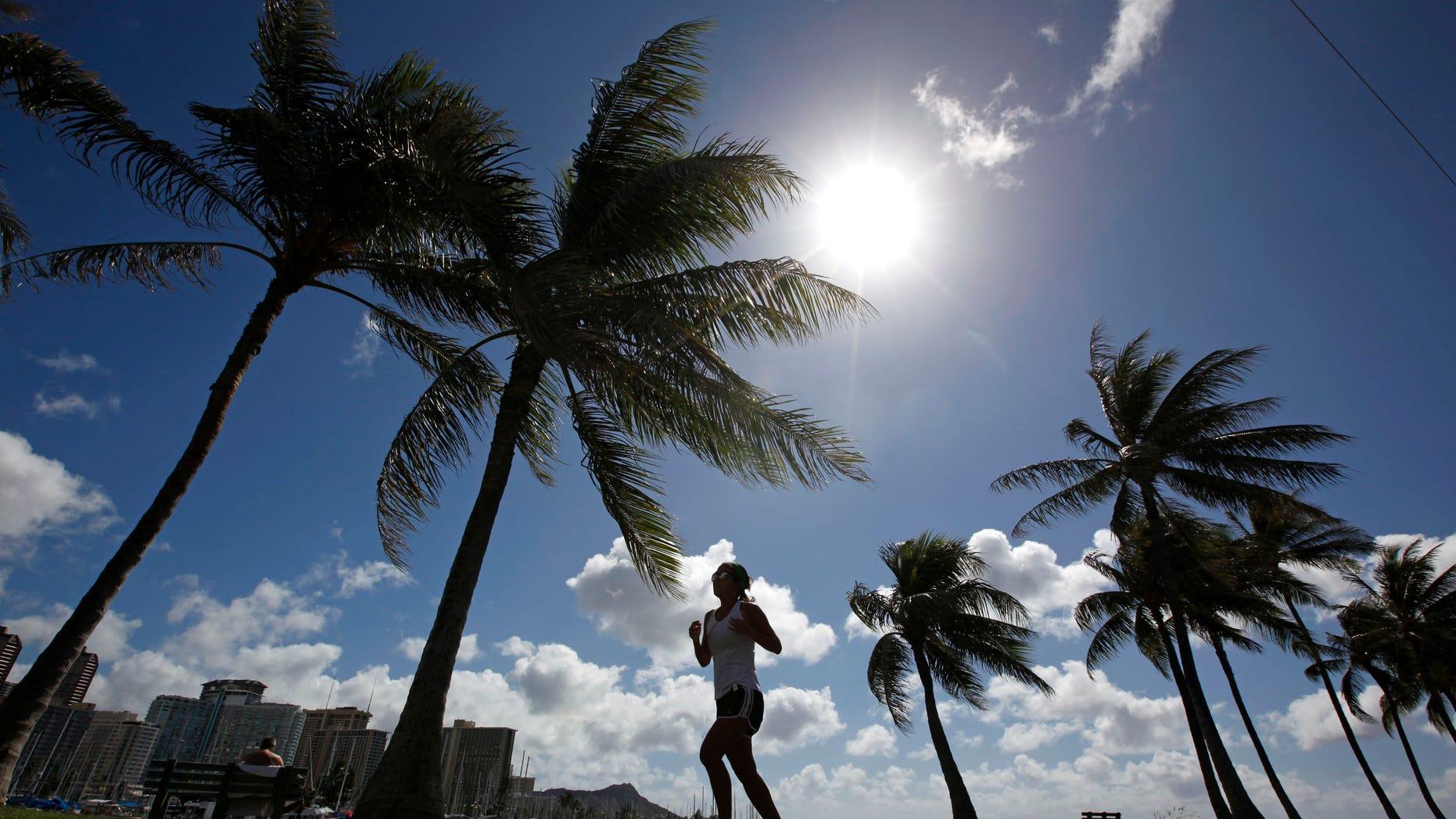 A woman jogs along a path in Ala Moana Park in Honolulu, Hawaii. REUTERS/Jim Young