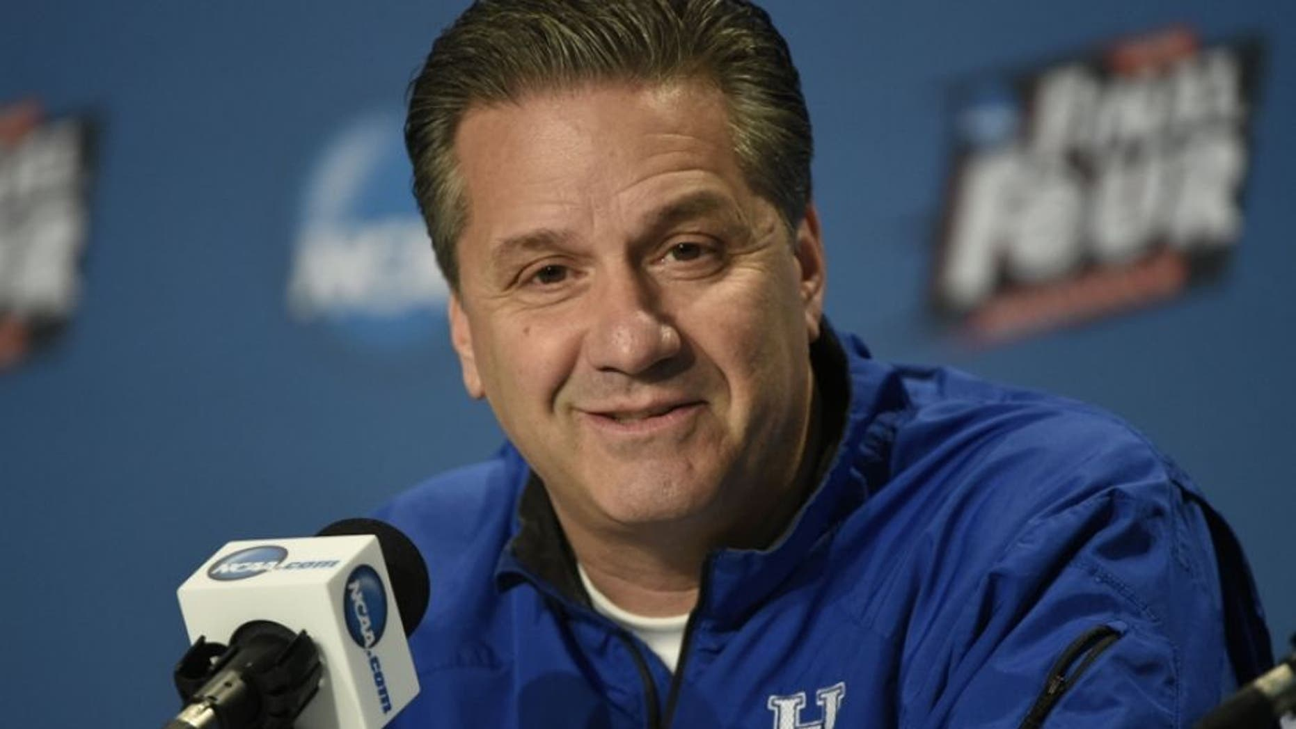 Apr 3, 2015; Indianapolis, IN, USA; Kentucky Wildcats head coach John Calipari speaks during a press conference for the 2015 NCAA Men's Division I Championship semi-final game at Lucas Oil Stadium. Mandatory Credit: Jamie Rhodes-USA TODAY Sports