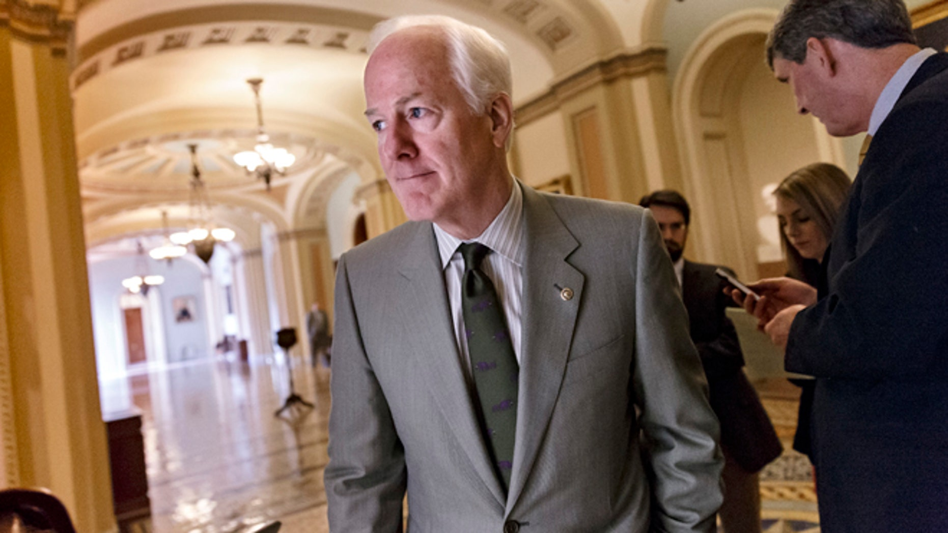 Dec. 18, 2013: Senate Minority Whip John Cornyn, R-Texas, and other Republicans walk to a closed-door GOP meeting before the Senate moves to pass a modest, bipartisan budget bill, at the Capitol in Washington.