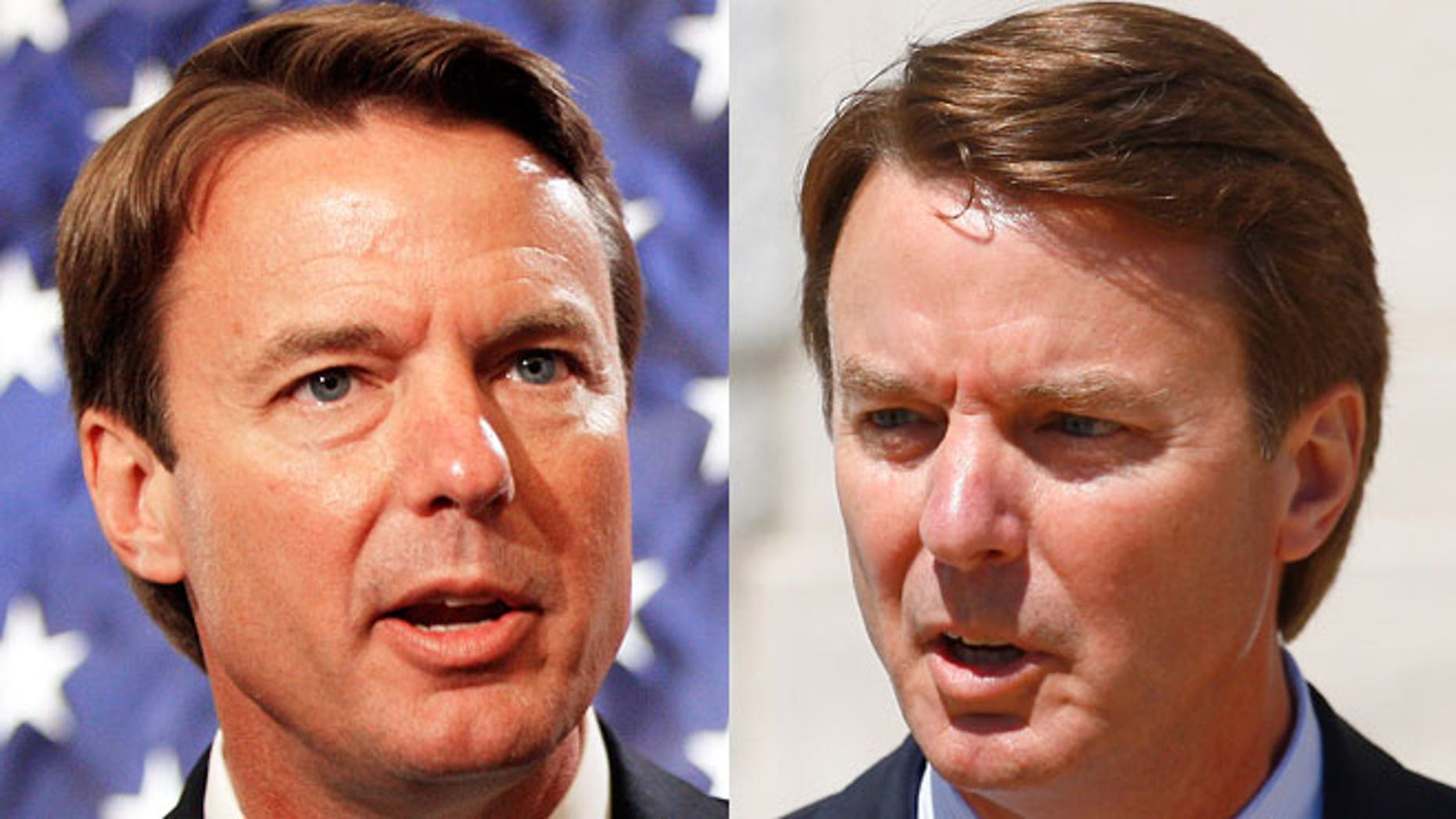 On the left, John Edwards campaigns in 2007. On the right, John Edwards speaks outside a courtroom in 2012.
