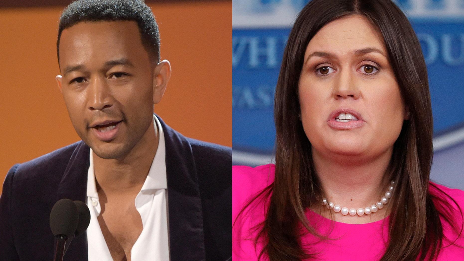 John Legend, left, spoke out against Sarah Sanders.