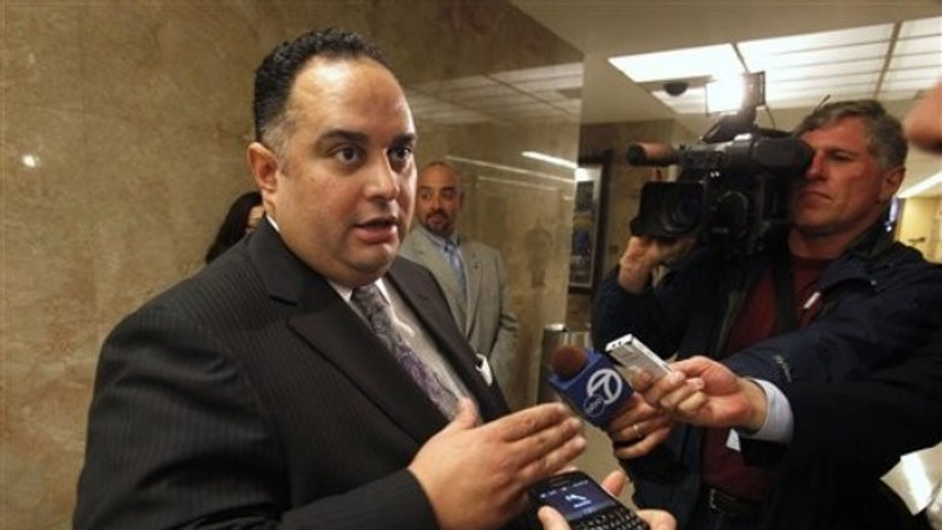 Assembly Speaker John Perez, D-Los Angeles, talks with reporters as he leaves a meeting with Gov. Jerry Brown and Senate President Pro Tem Darrell Steinberg, D-Sacramento, to discuss the state budget at Capitol in Sacramento, Calif. , Monday March 21, 2011. (AP)