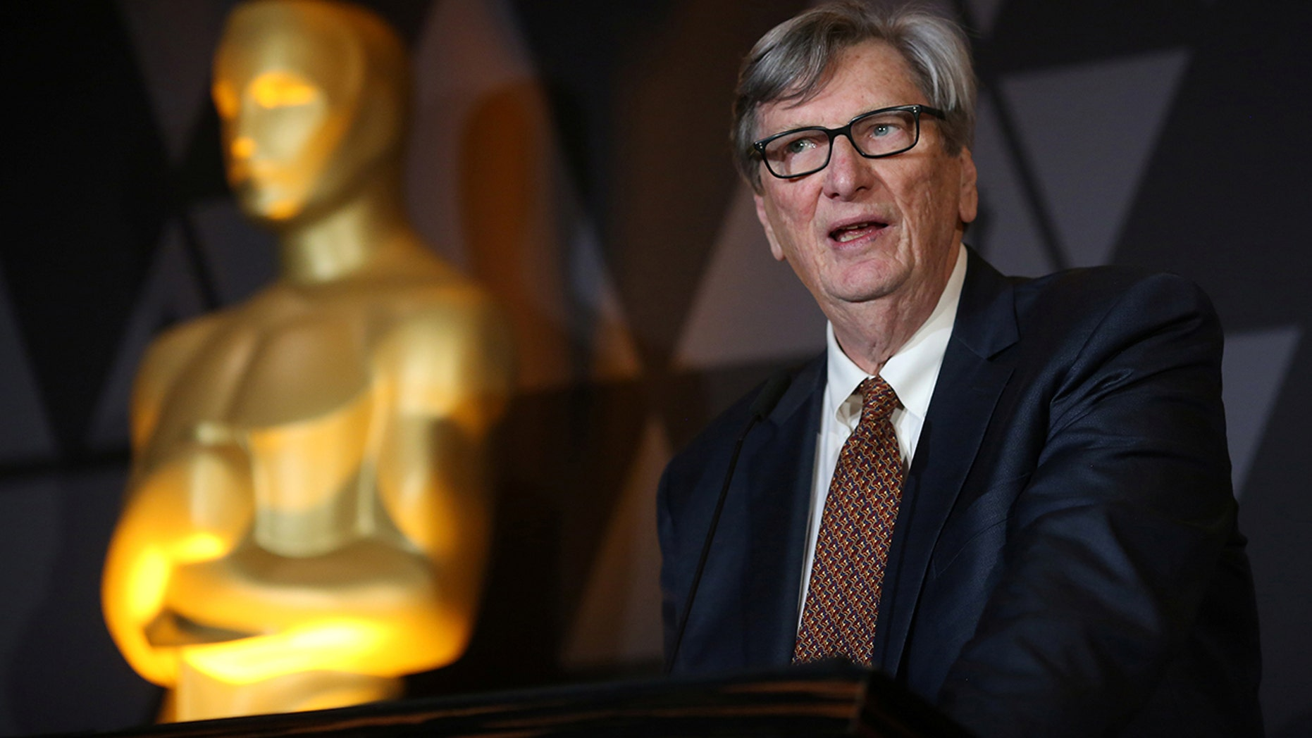 Motion Picture Academy President John Bailey speaks at the Foreign Language Film nominees cocktail reception in Beverly Hills, California, U.S., March 2, 2018.