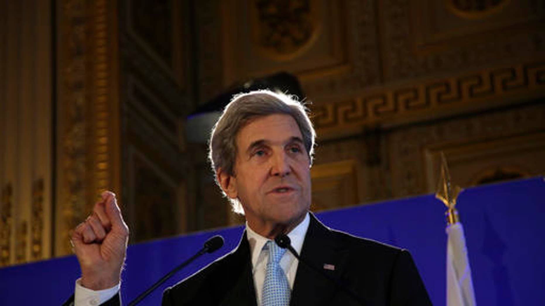 U.S. Secretary of State John Kerry gives a press conference after a meeting on Syria, in Paris, Saturday, Dec. 10, 2016. Leading diplomats are in Paris in an effort to find solutions for the conflict in Syria.  (AP Photo/Thibault Camus)