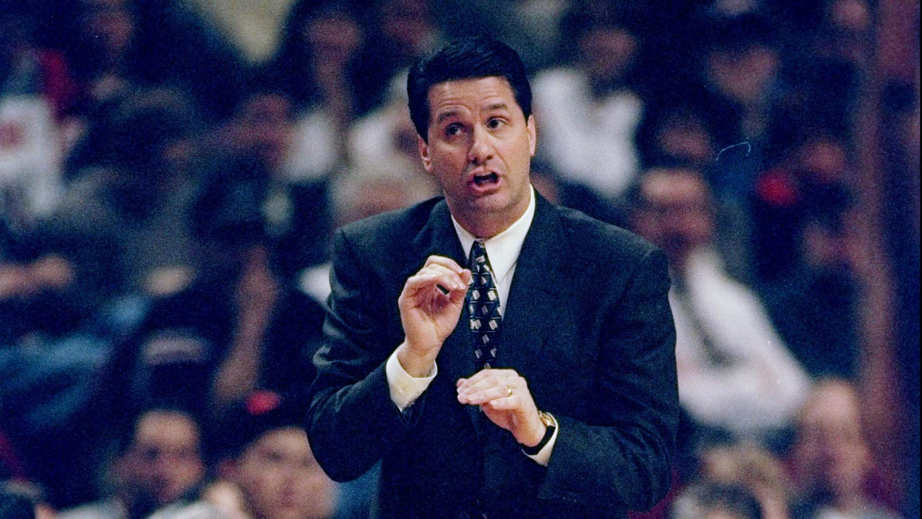 16 Mar 1998:  New Jersey Nets head coach John Calipari gestures during a game against the Chicago Bulls at the United Center in Chicago, Illinois. The Bulls defeated the Nets 88-72.   Mandatory Credit: Jonathan Daniel  /Allsport