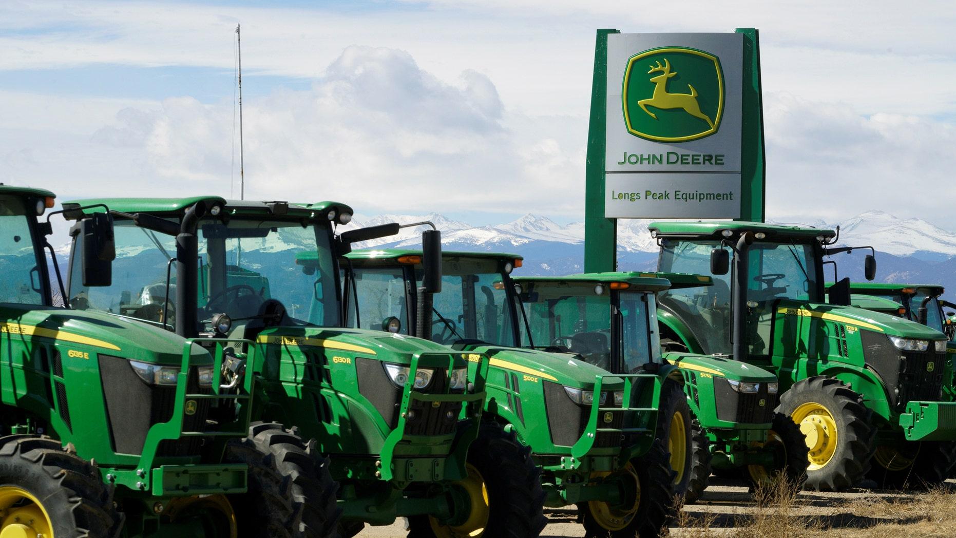 File photo - John Deere tractors are seen for sale at a dealer in Longmont, Colorado, U.S., Feb. 21, 2017. (REUTERS/Rick Wilking)