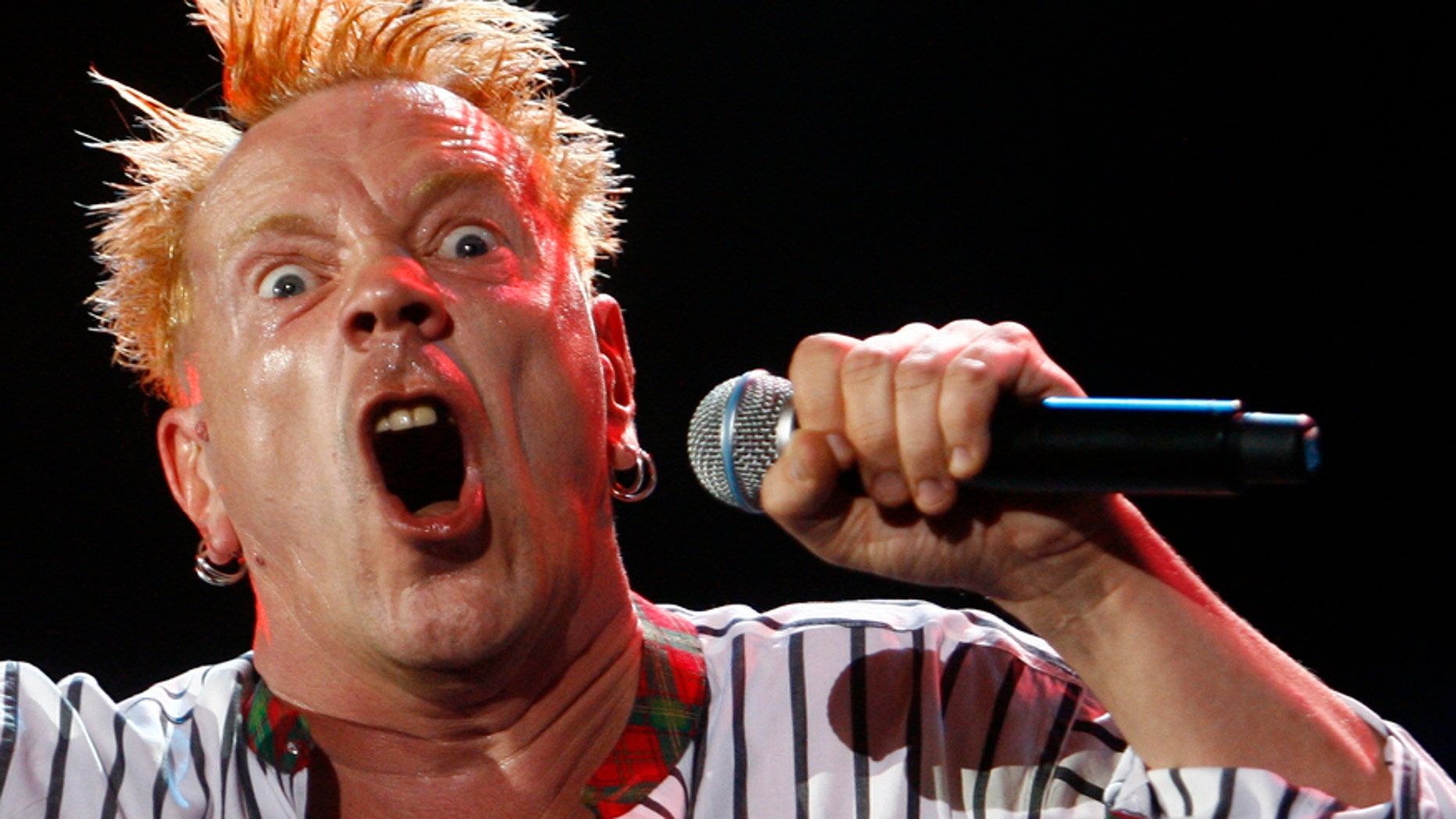 Johnny Rotten performs with the Sex Pistols during the Exit music festival in Novi Sad, northerm Serbia, July 14, 2008.