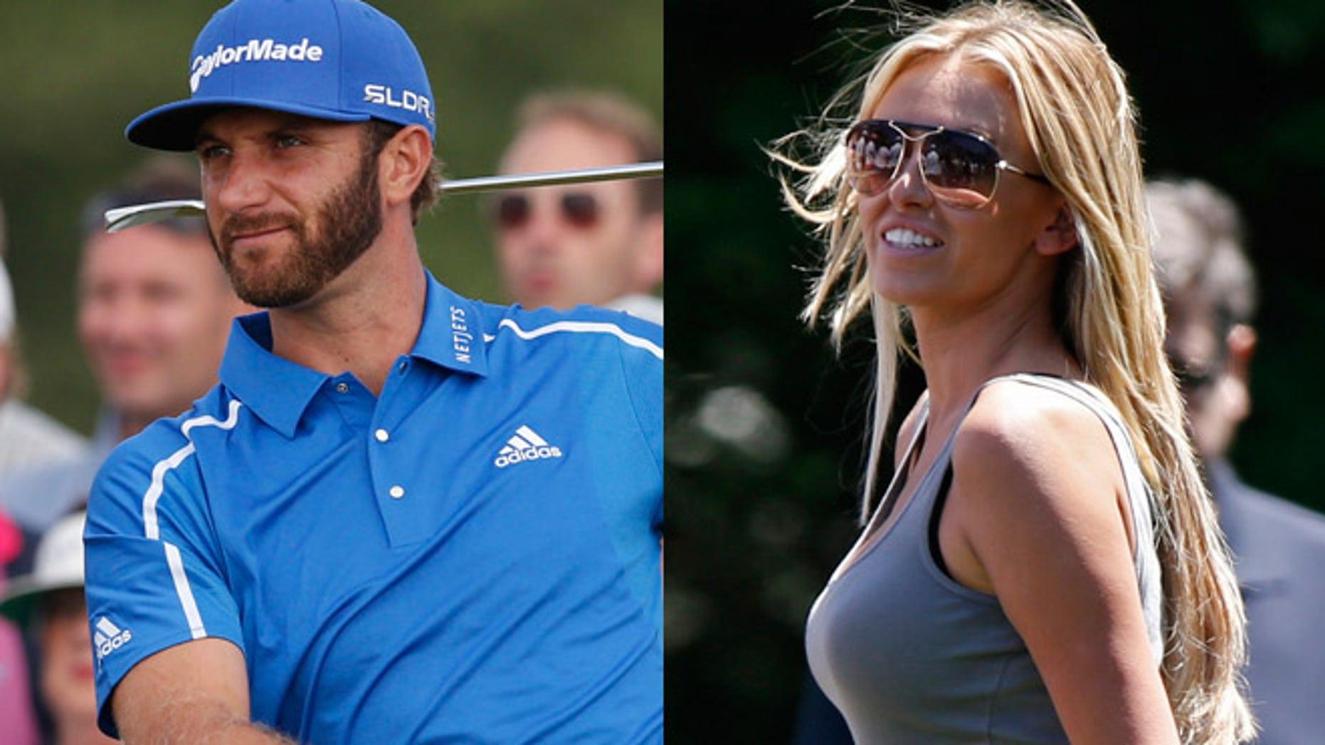 Dustin Johnson, left and Paulina Gretzky.