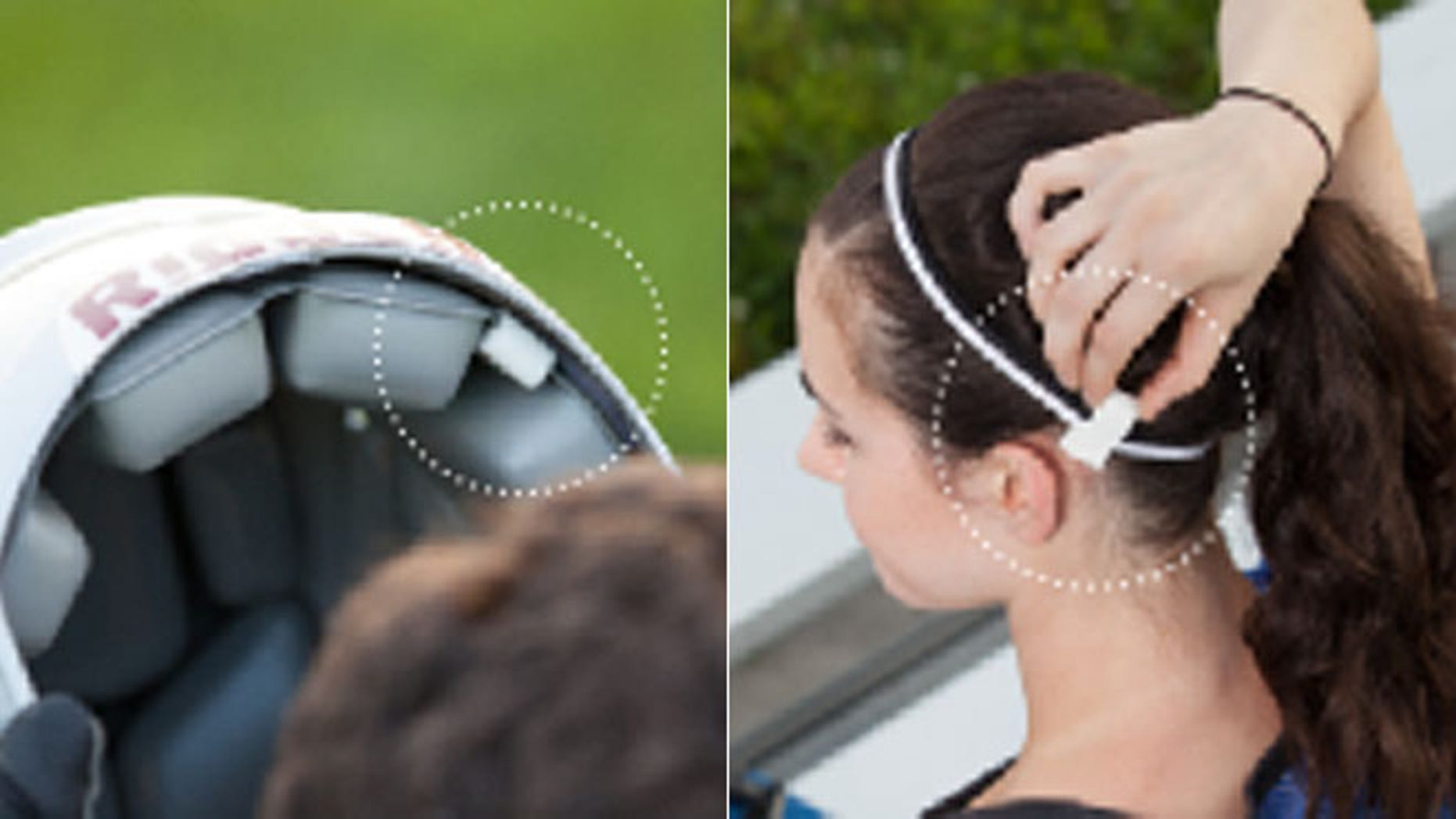 The clip-on Jolt Sensor device, pictured above, is a small rubber clip designed to attach to any piece of head-worn equipment.