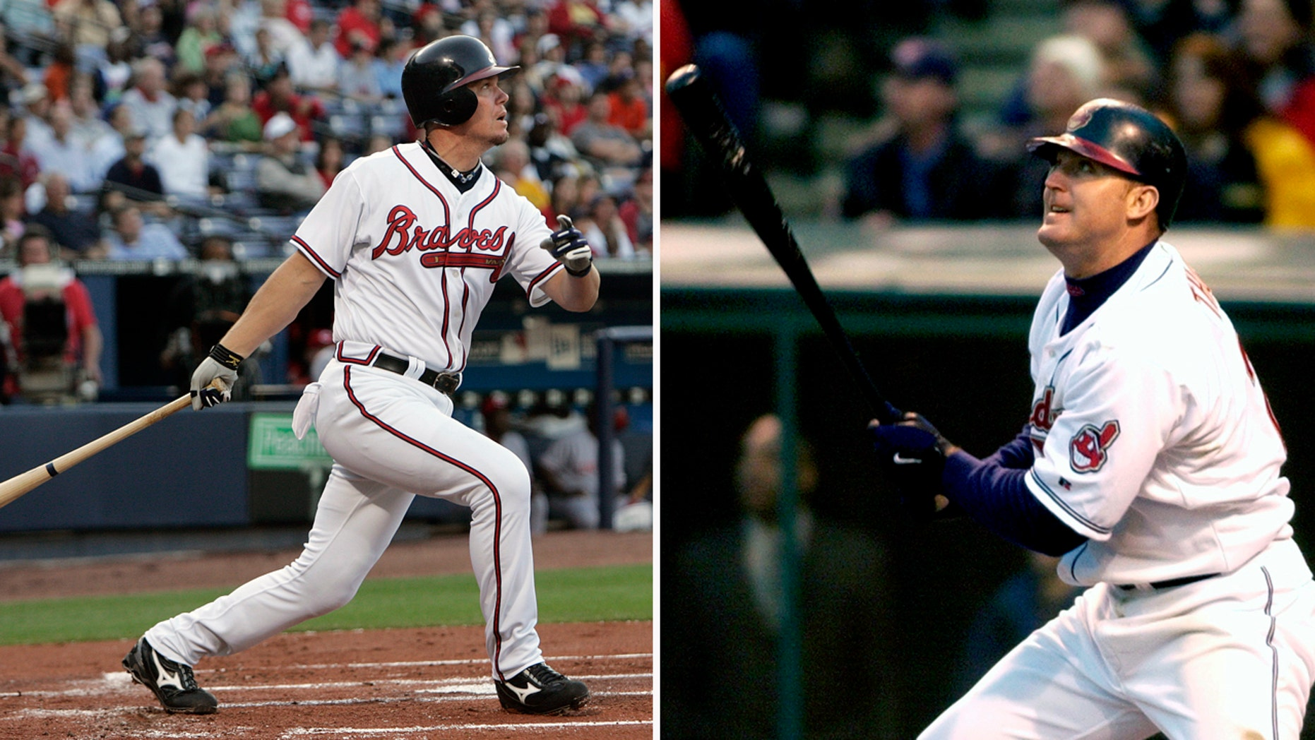 Chipper Jones, left, and Jim Thome were elected with more than 85 percent of the vote in their first year of eligibility.