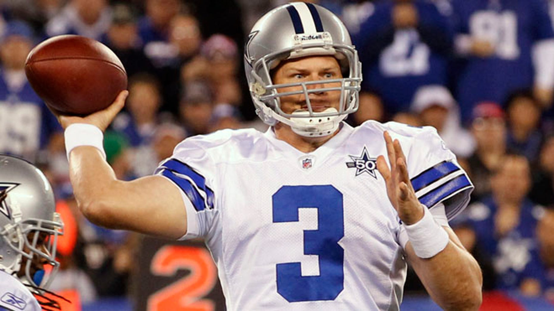 Dallas Cowboys quarterback Jon Kitna throws in a game against the New York Giants during his last stint with the team, which lasted from 2009-2011.