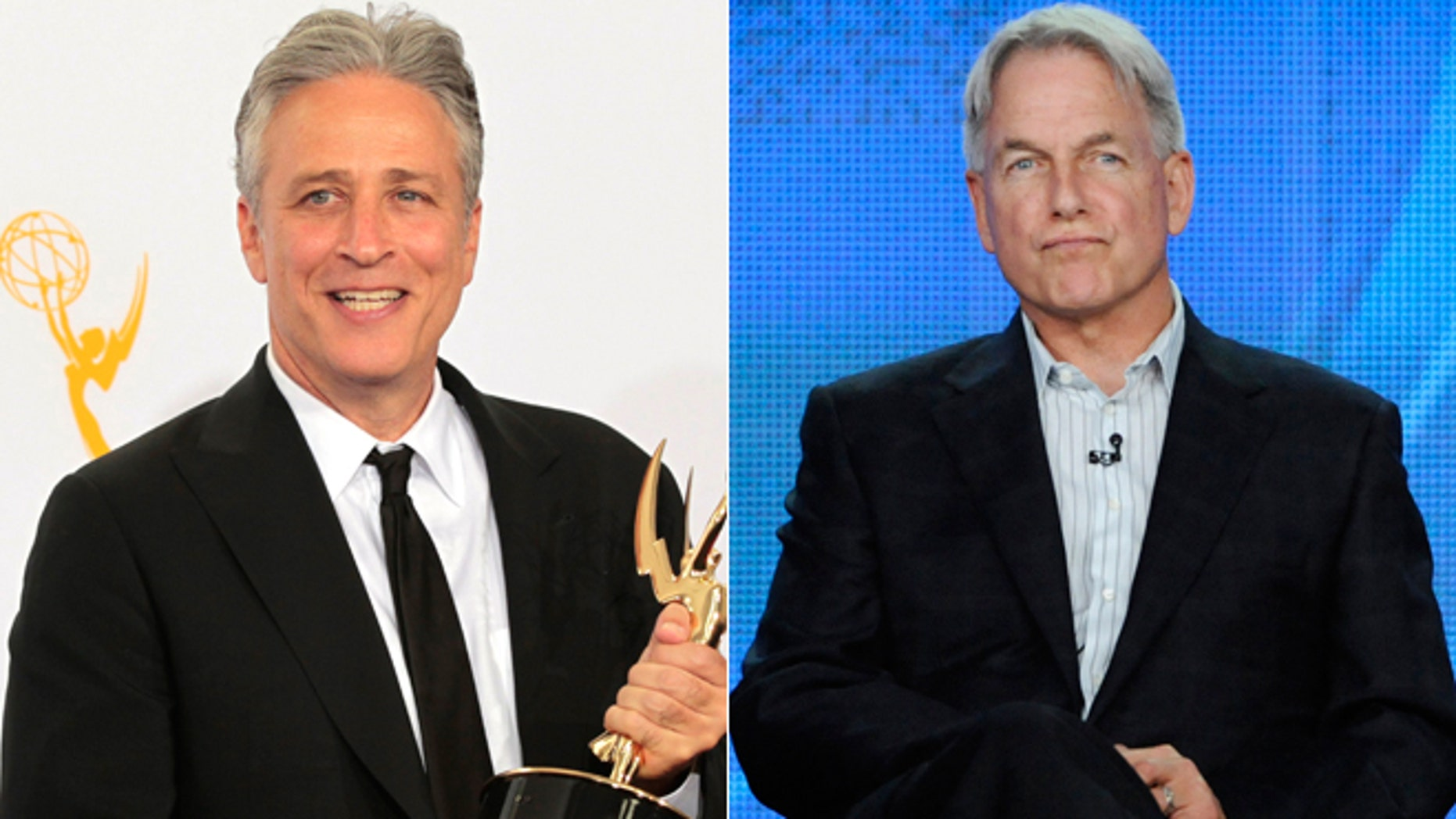 Jon Stewart, left, and Mark Harmon are some of the highest paid stars on TV in 2013, according to TV Guide Magazine.