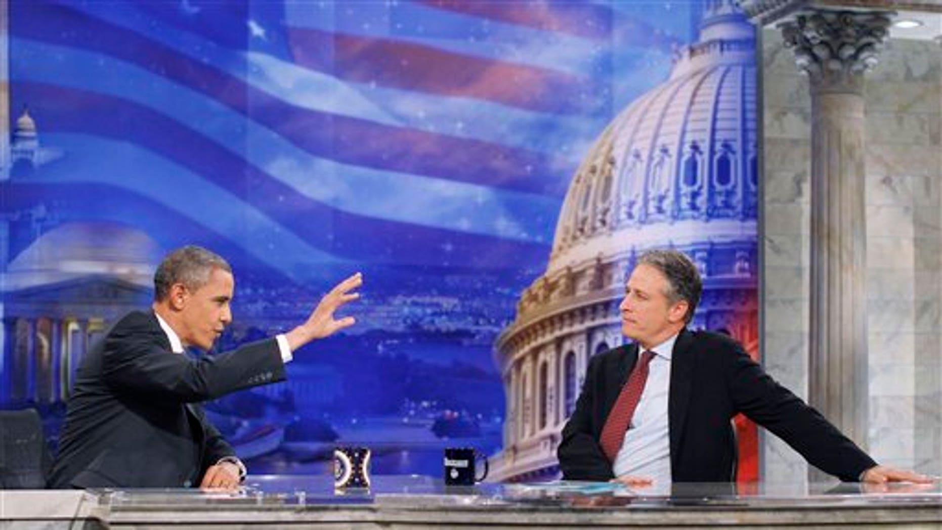 President Obama and 'The Daily Show' host Jon Stewart in Washington.